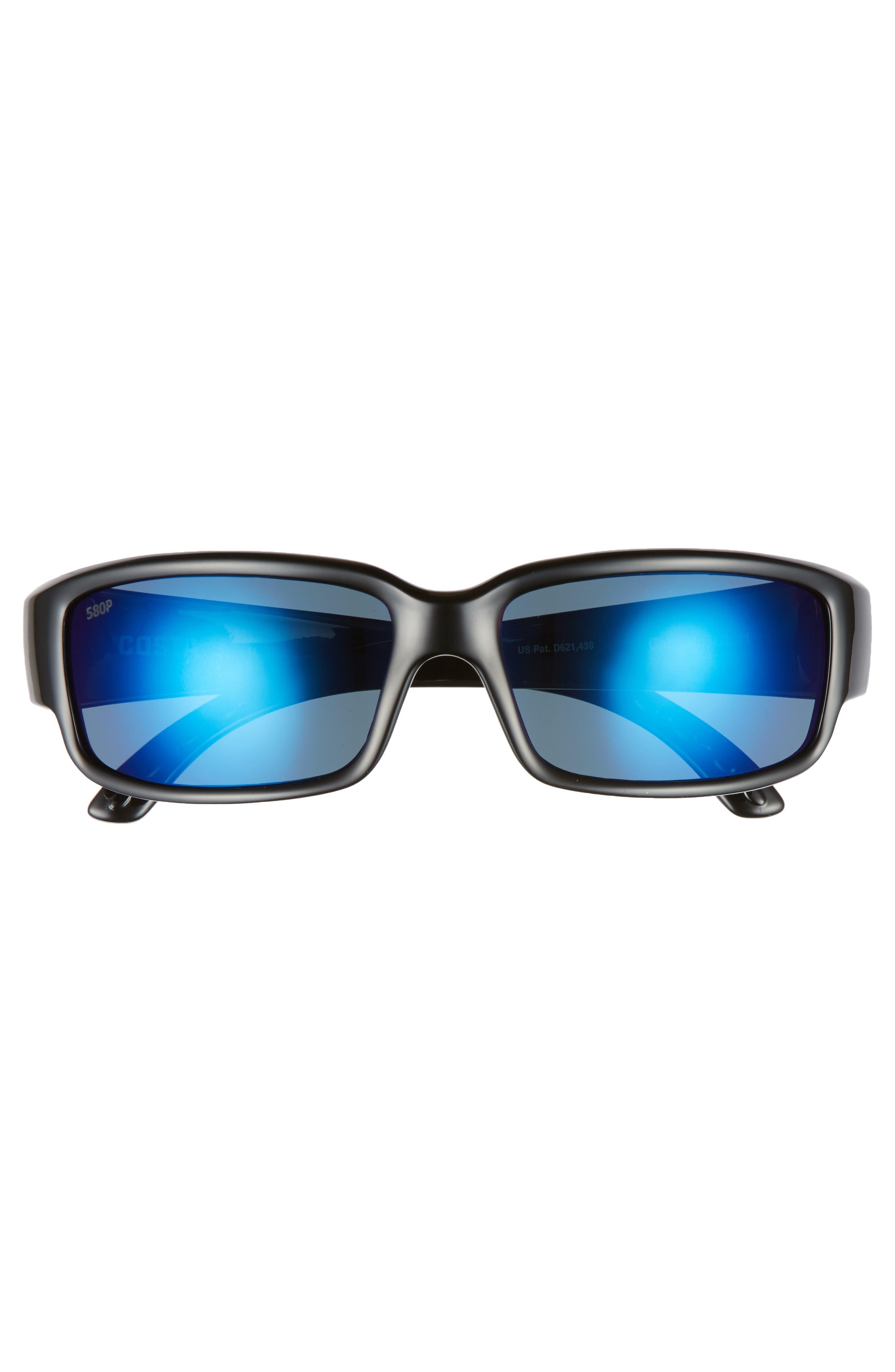 Caballito 60mm Polarized Sunglasses,                             Alternate thumbnail 2, color,                             BLACK/ BLUE MIRROR