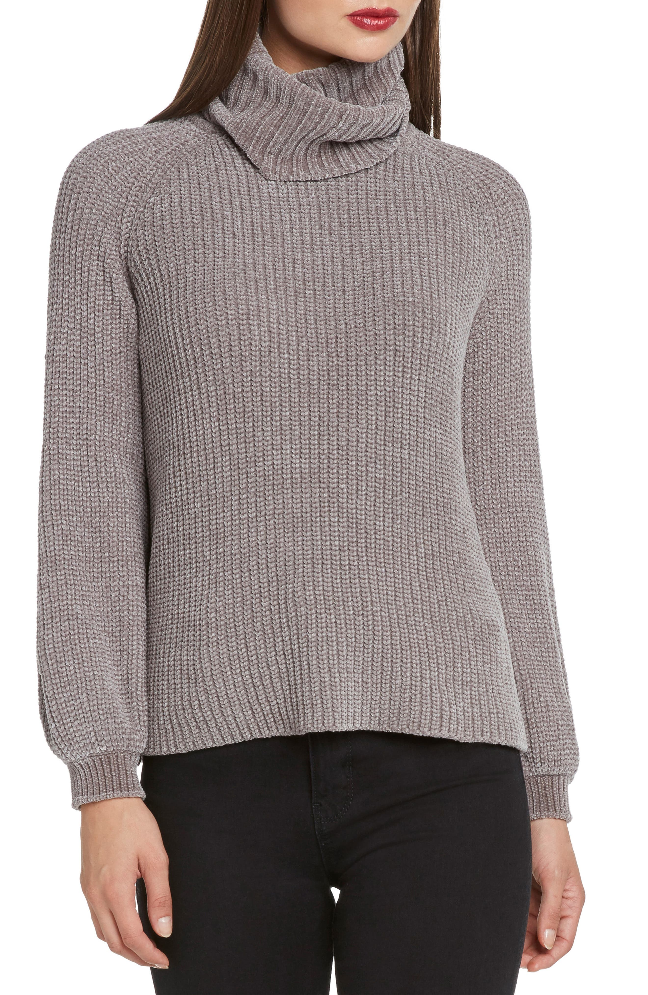 Bloused Sleeve Chenille Turtleneck Sweater,                             Main thumbnail 1, color,                             STONE