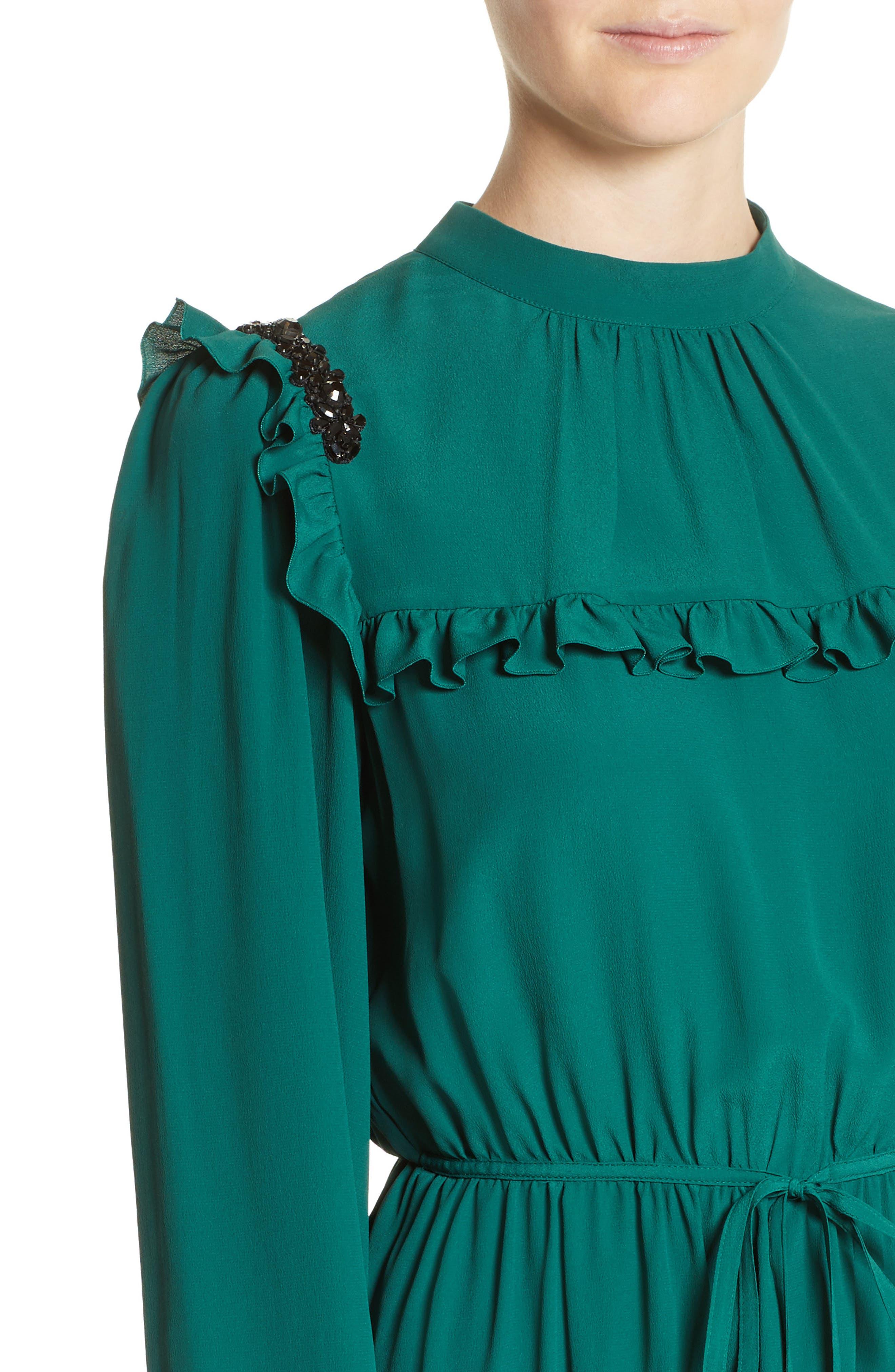 Crystal Embellished Ruffle Dress,                             Alternate thumbnail 4, color,                             300