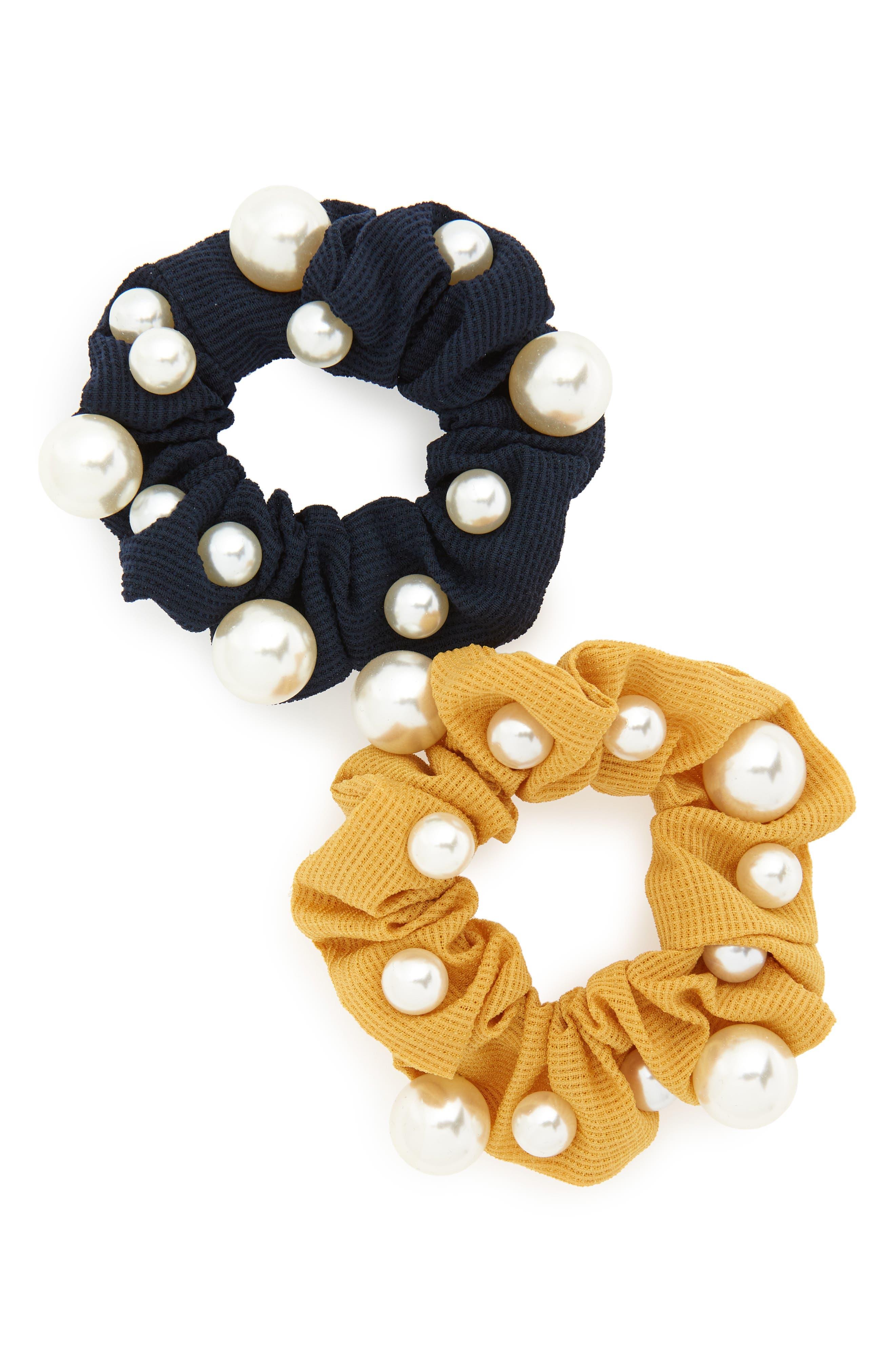 2-Pack Imitation Pearl Scrunchies,                             Main thumbnail 2, color,
