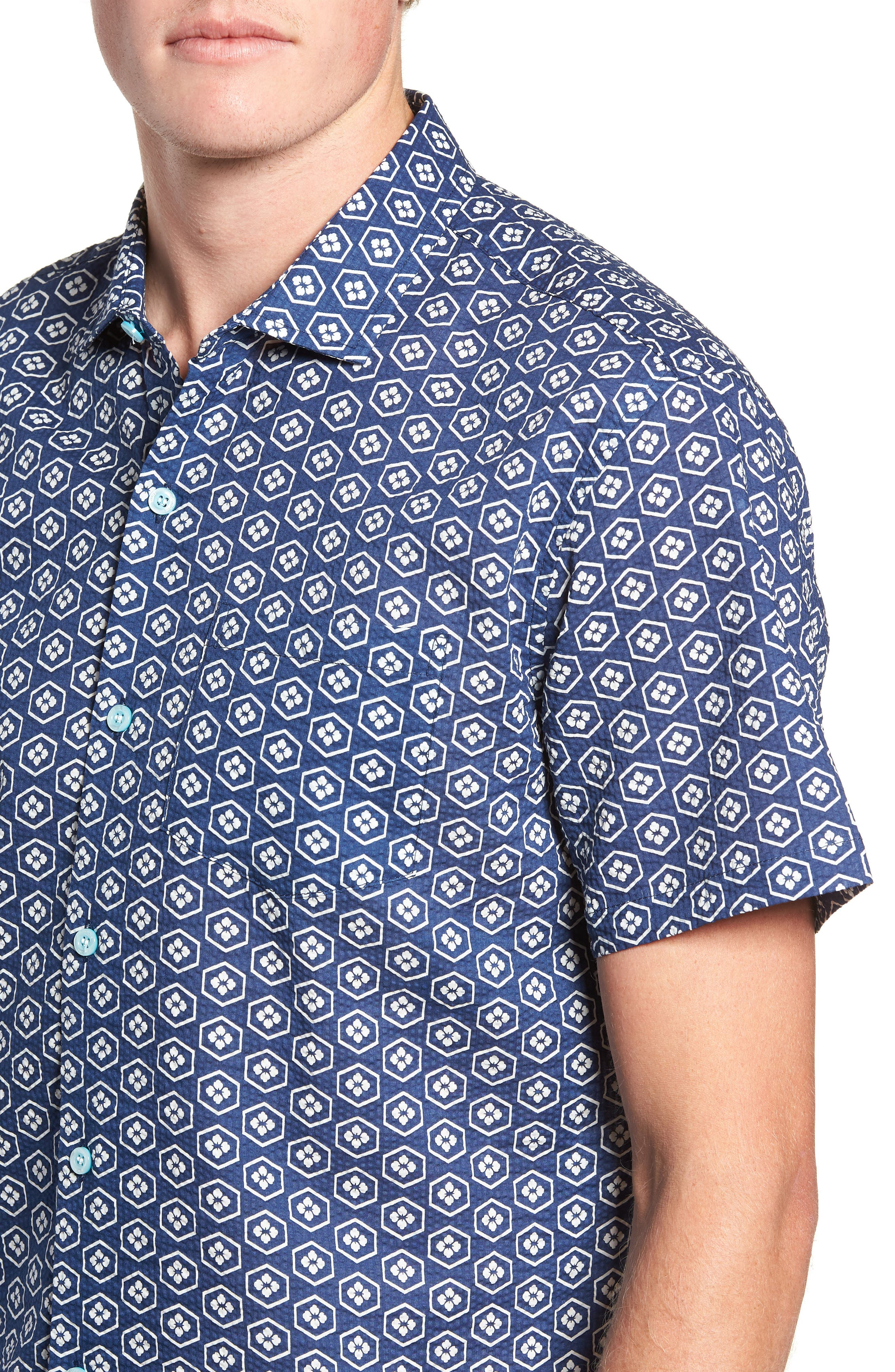 Regular Fit Print Sport Shirt,                             Alternate thumbnail 2, color,                             NAVY