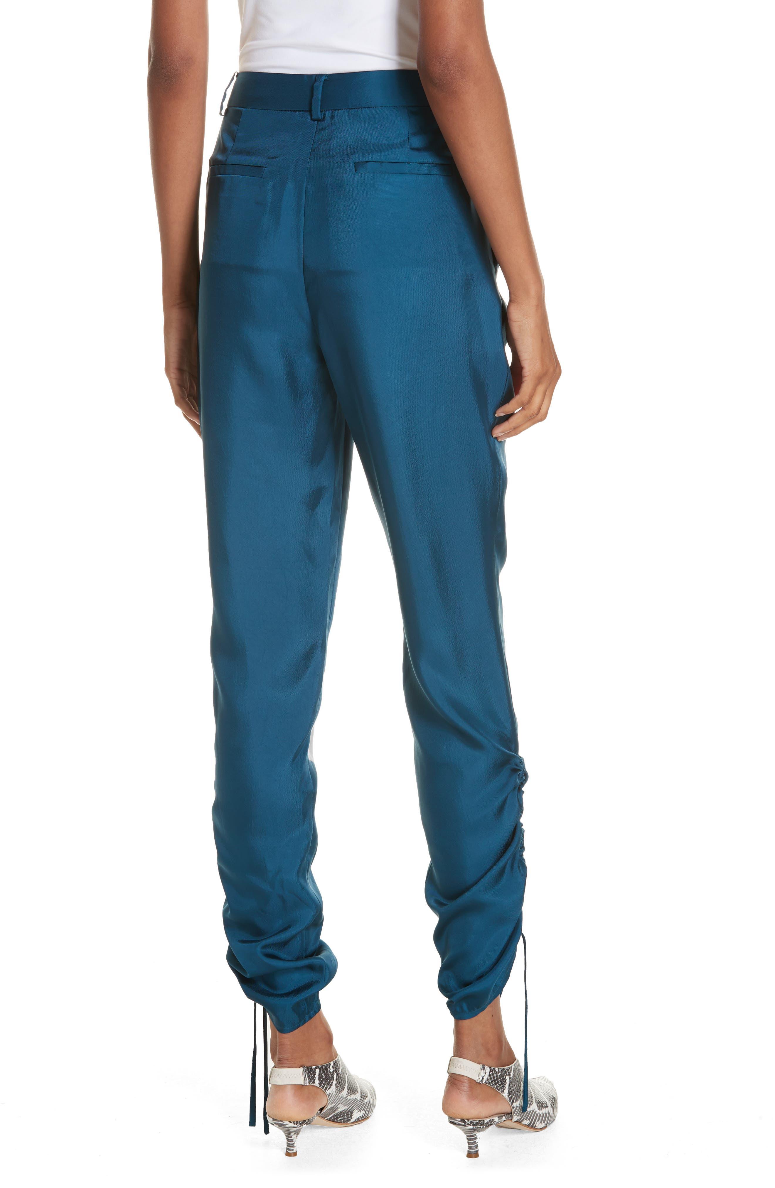 Mendini Twill Shirred Pants,                             Alternate thumbnail 2, color,                             TEAL BLUE