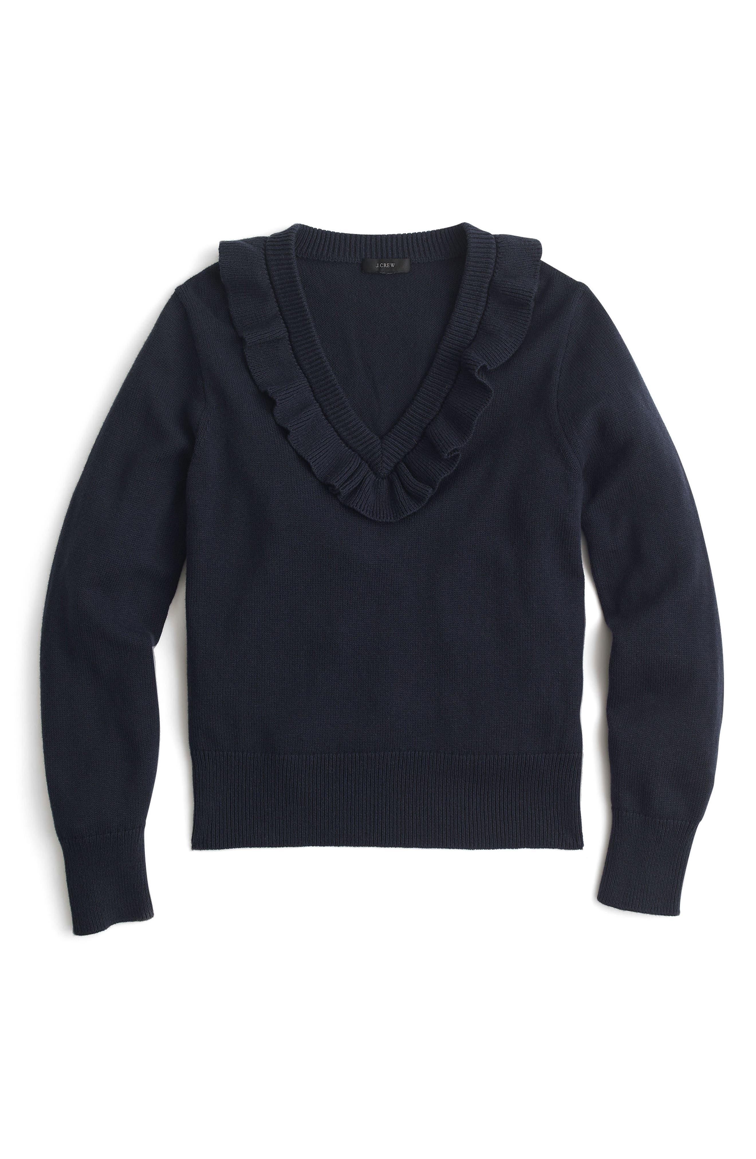 Ruffle V-Neck Sweater,                             Alternate thumbnail 5, color,
