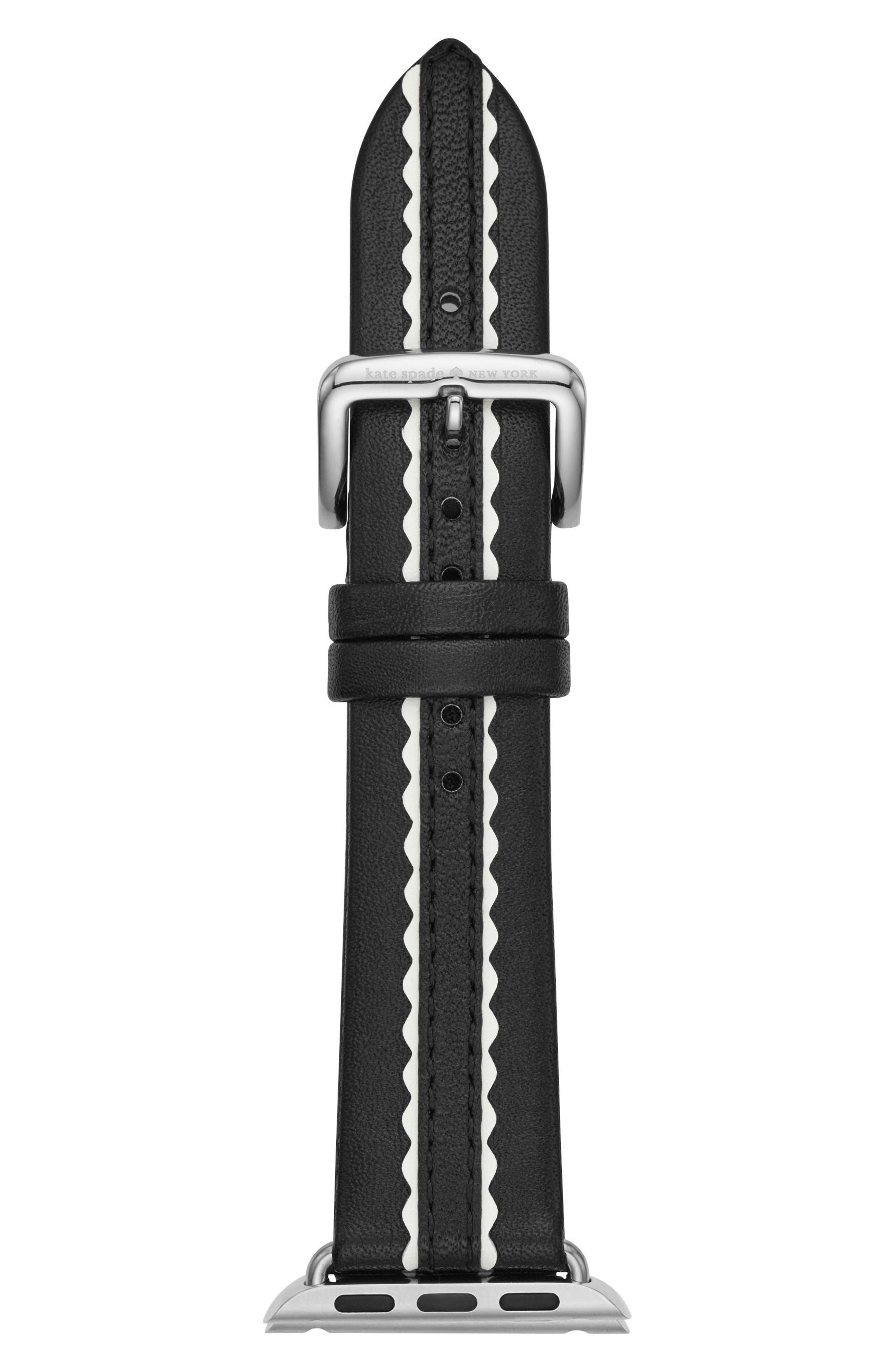 Apple Watch strap, 38mm,                             Main thumbnail 1, color,                             BLACK/ WHITE