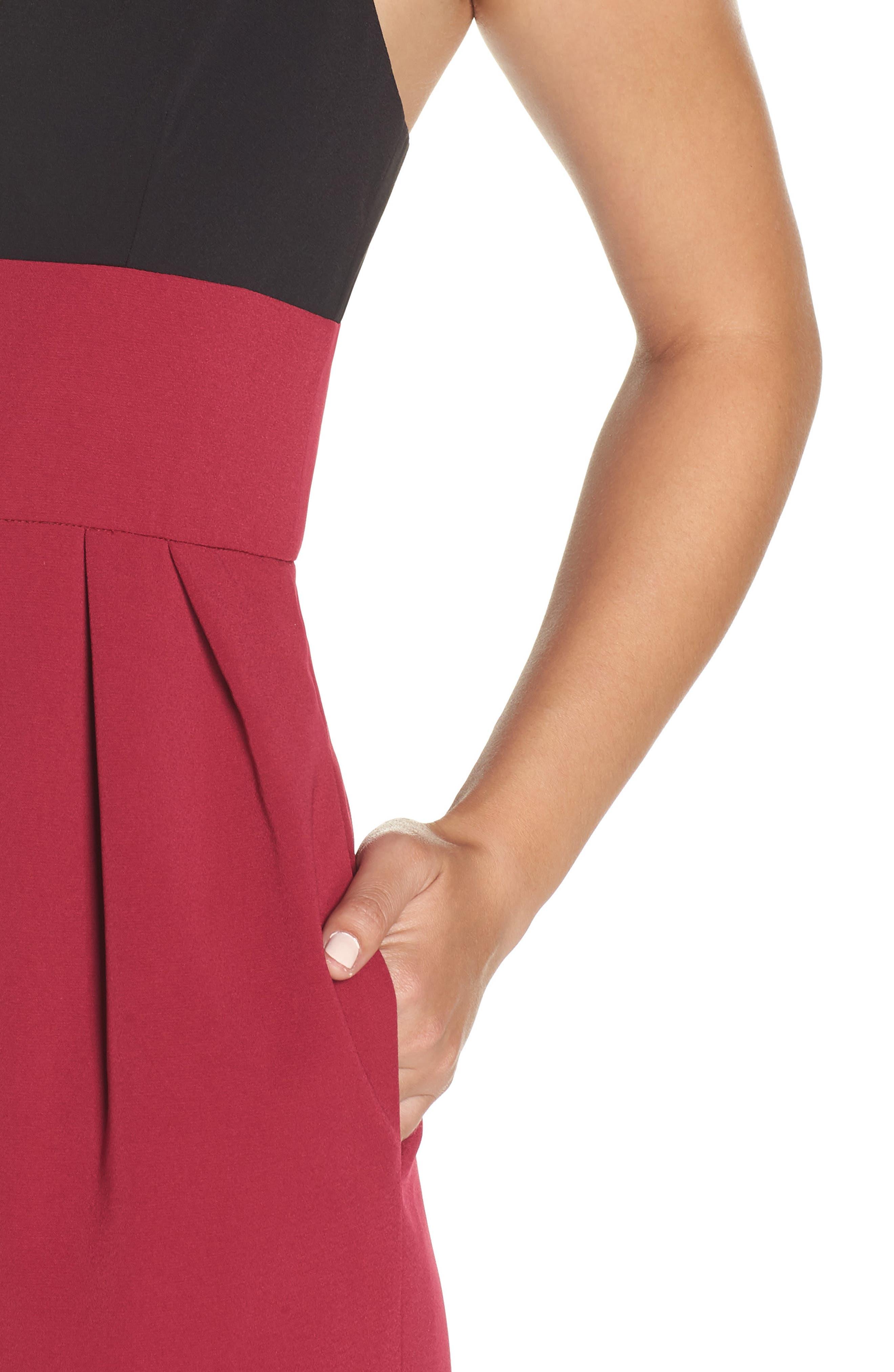 Colorblock Midi Dress,                             Alternate thumbnail 4, color,                             BLACK/ WINEBERRY