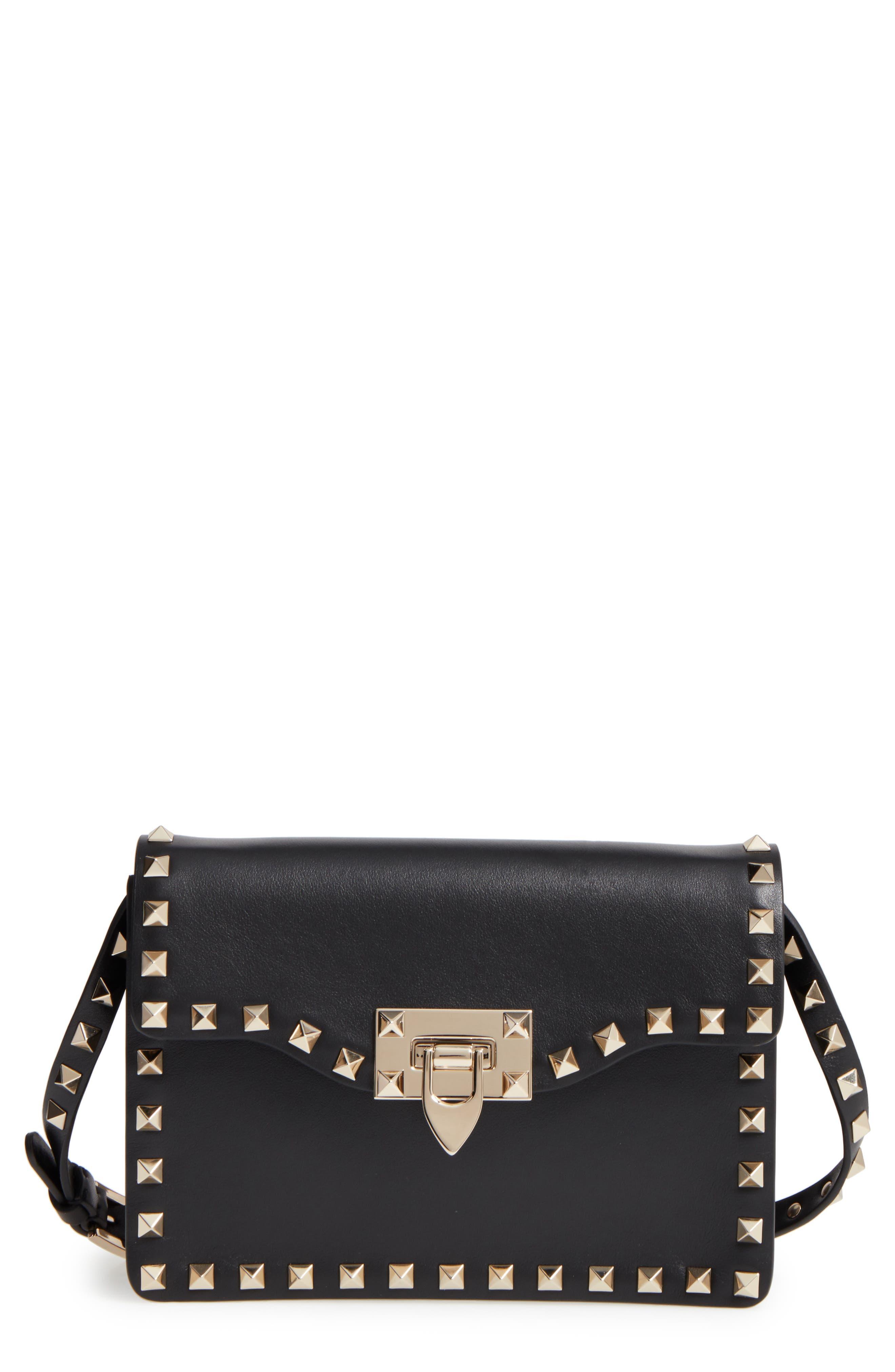 Rockstud Leather Crossbody Bag,                         Main,                         color, 001