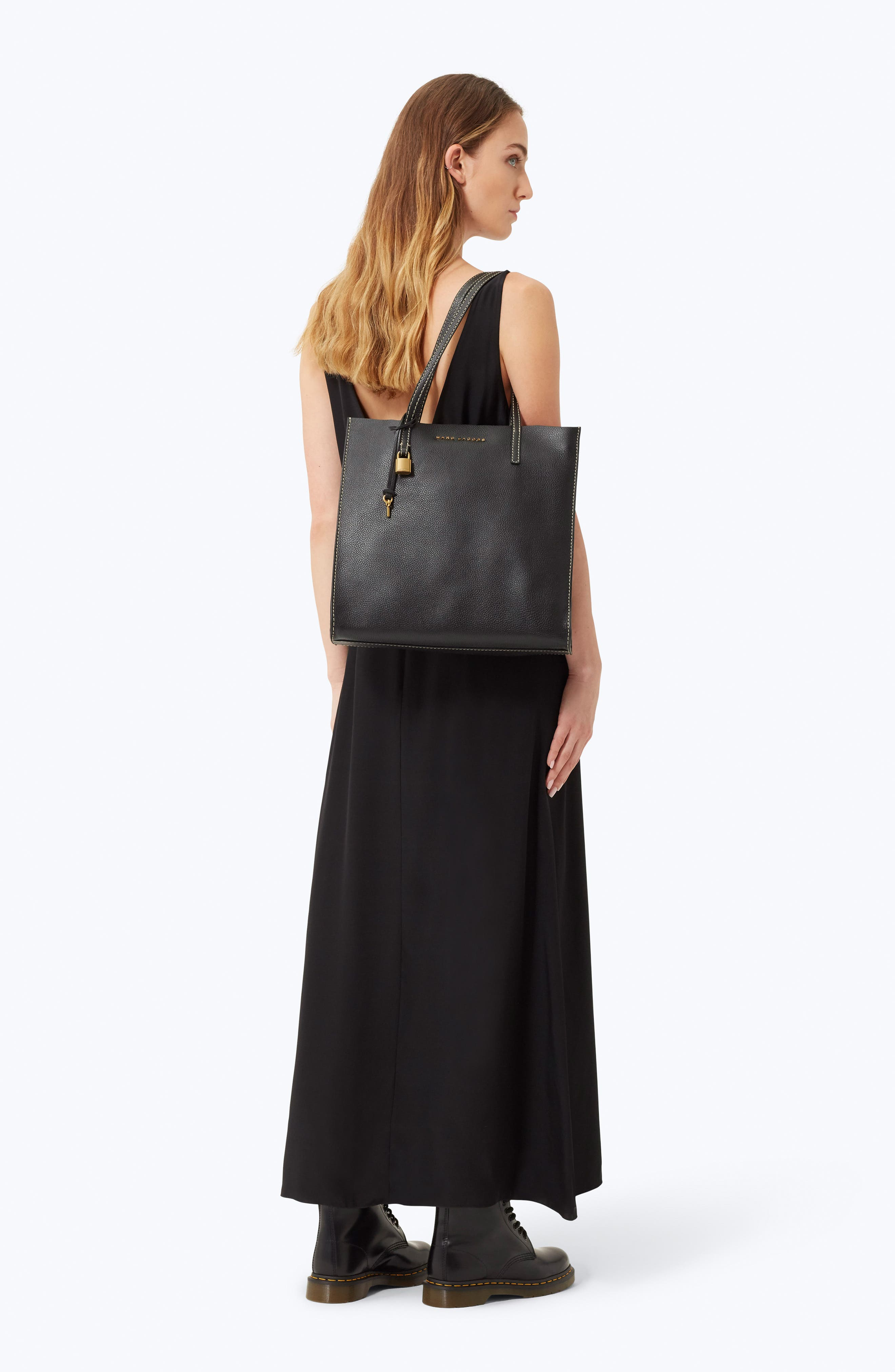 The Grind East/West Leather Shopper,                             Alternate thumbnail 2, color,                             BLACK