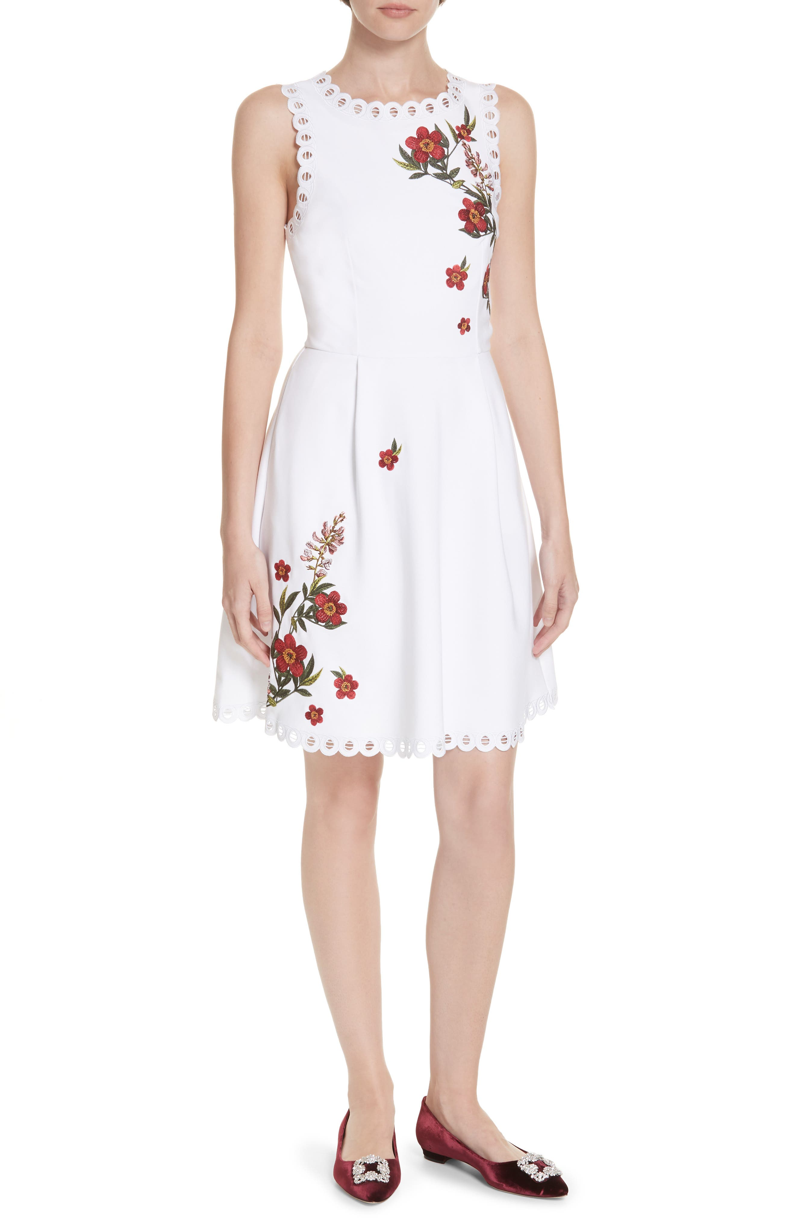 Kristil Kirstenbosch Skater Dress,                             Main thumbnail 1, color,                             WHITE
