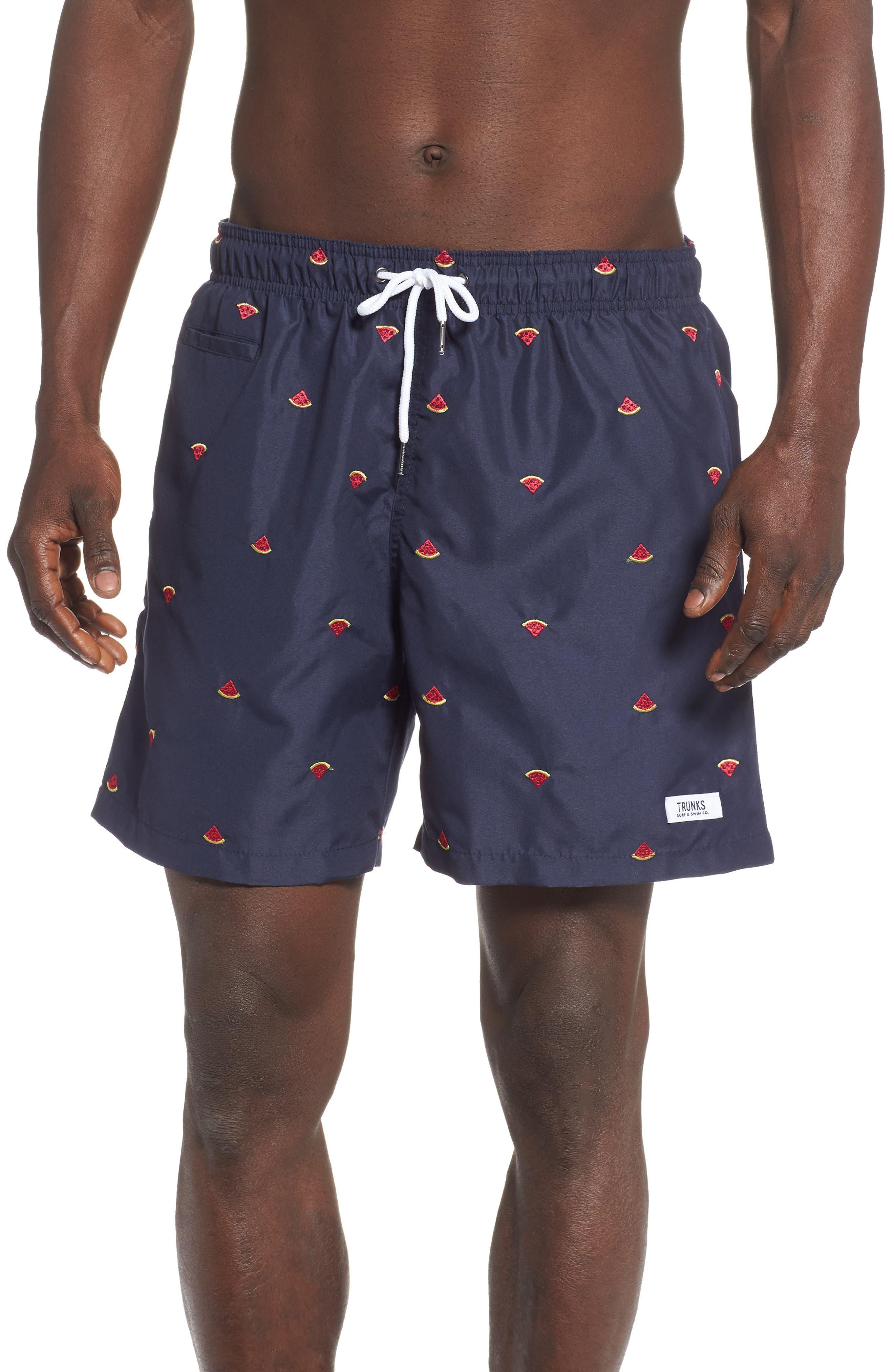Premium Embroidered Sano Swim Trunks,                             Main thumbnail 1, color,                             WATERMELON DRAWING