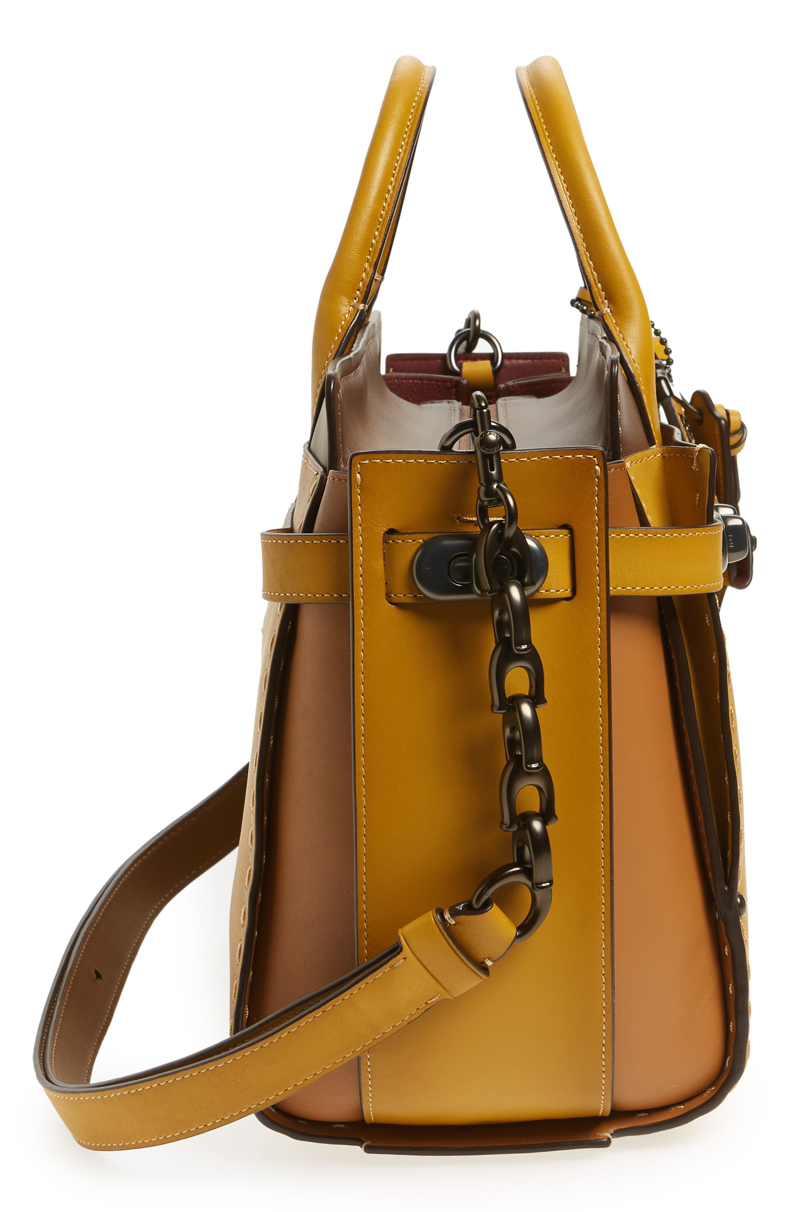 COACH Double Swagger Leather Satchel,                             Alternate thumbnail 5, color,                             700