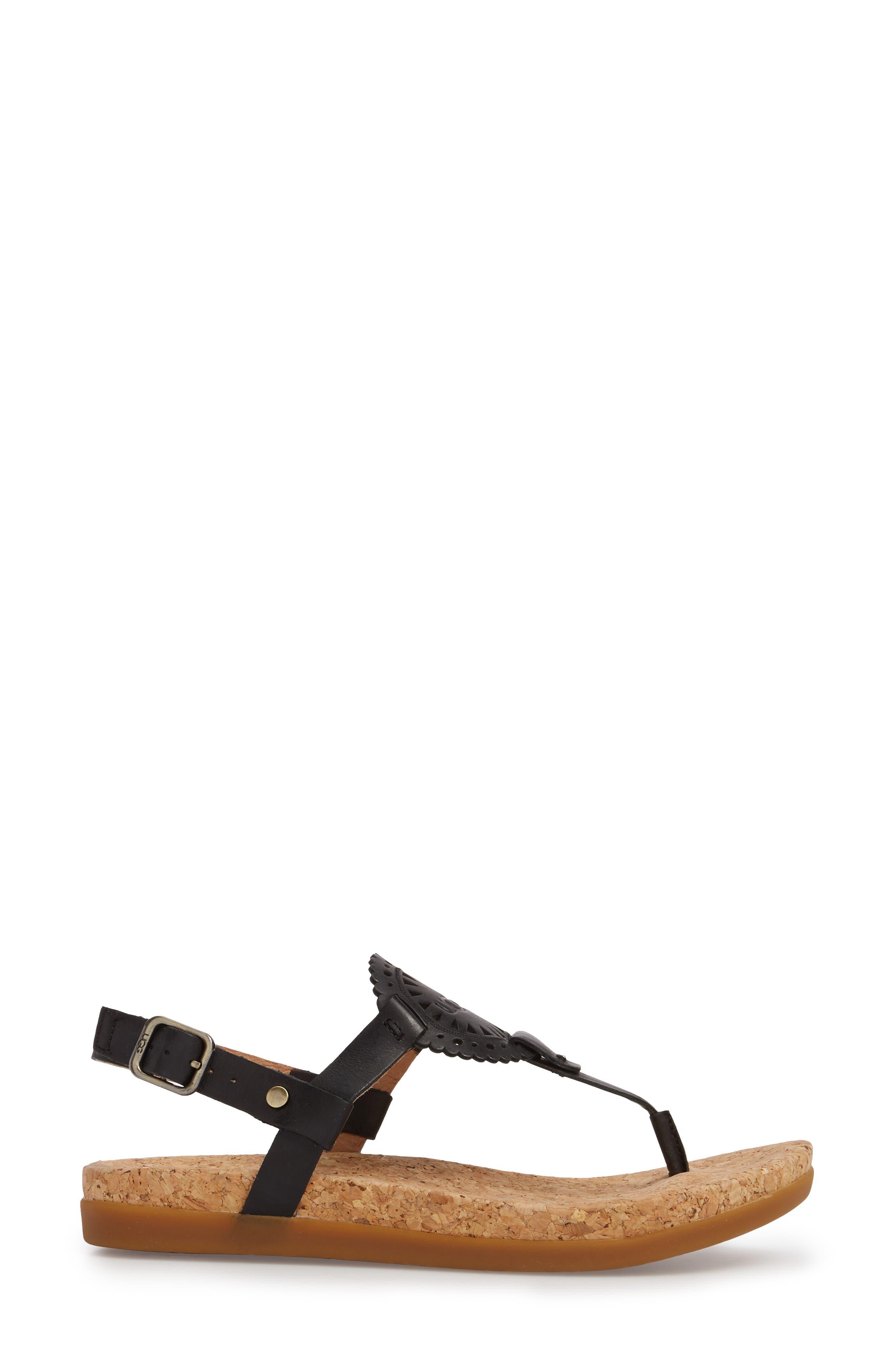 UGG<SUP>®</SUP>,                             Ayden II T-Strap Sandal,                             Alternate thumbnail 3, color,                             BLACK LEATHER