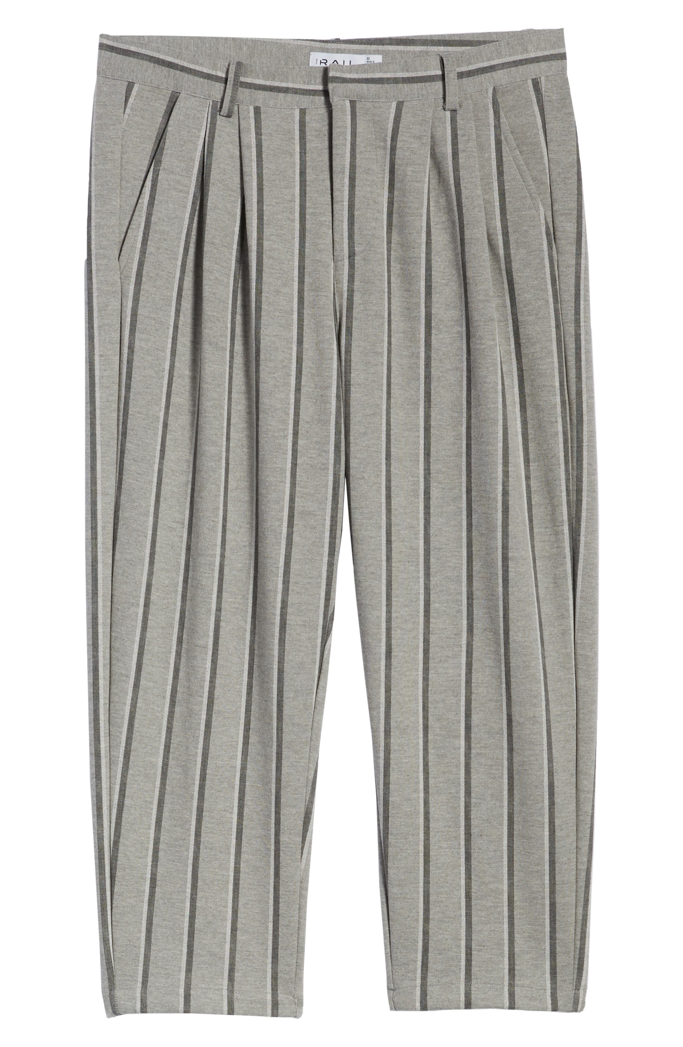Pleated Plaid Crop Pants,                             Alternate thumbnail 6, color,                             GREY BLACK SHADOW STRIPE