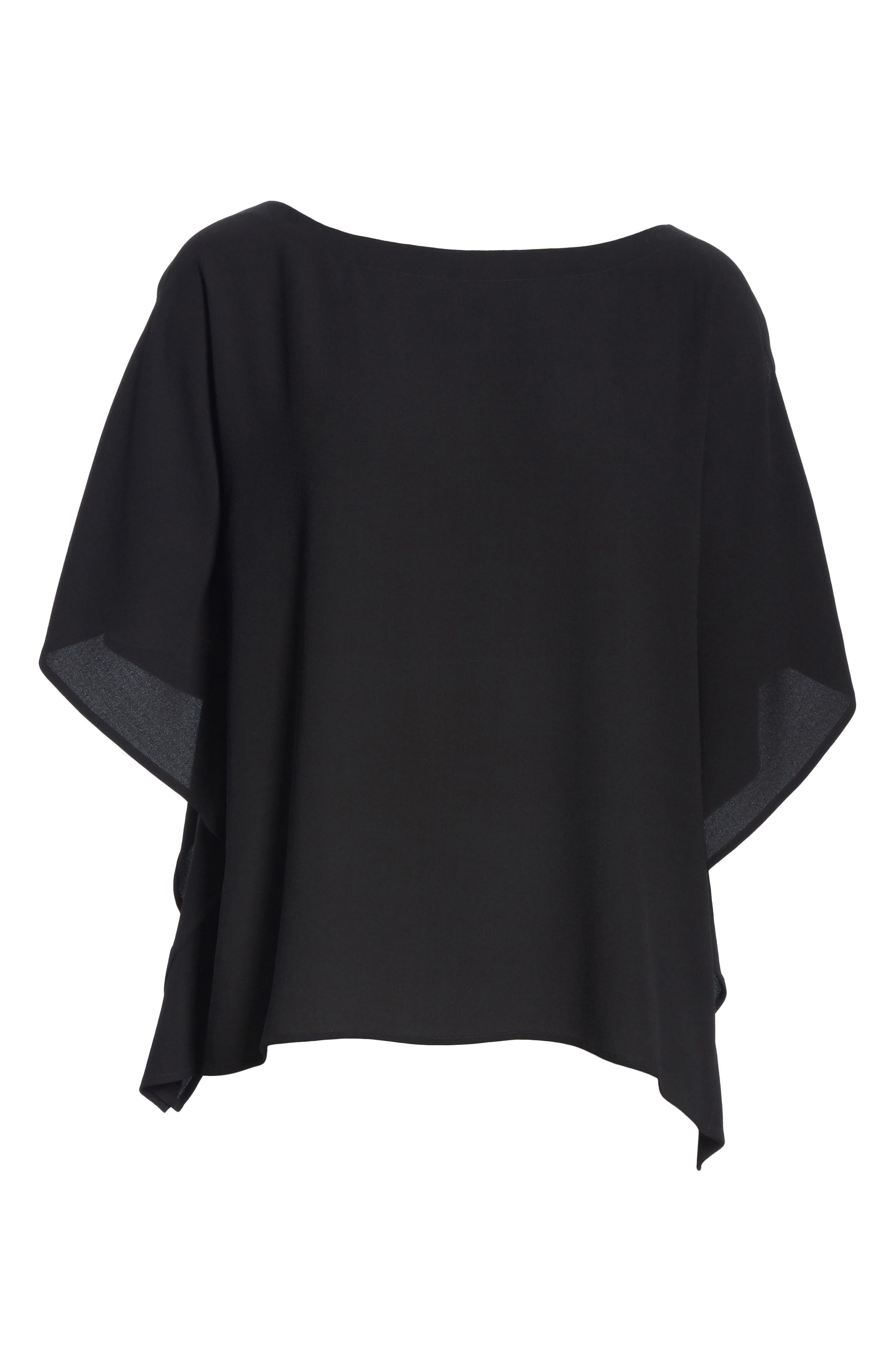 Slit Sleeve Silk Top,                             Alternate thumbnail 6, color,                             BLACK