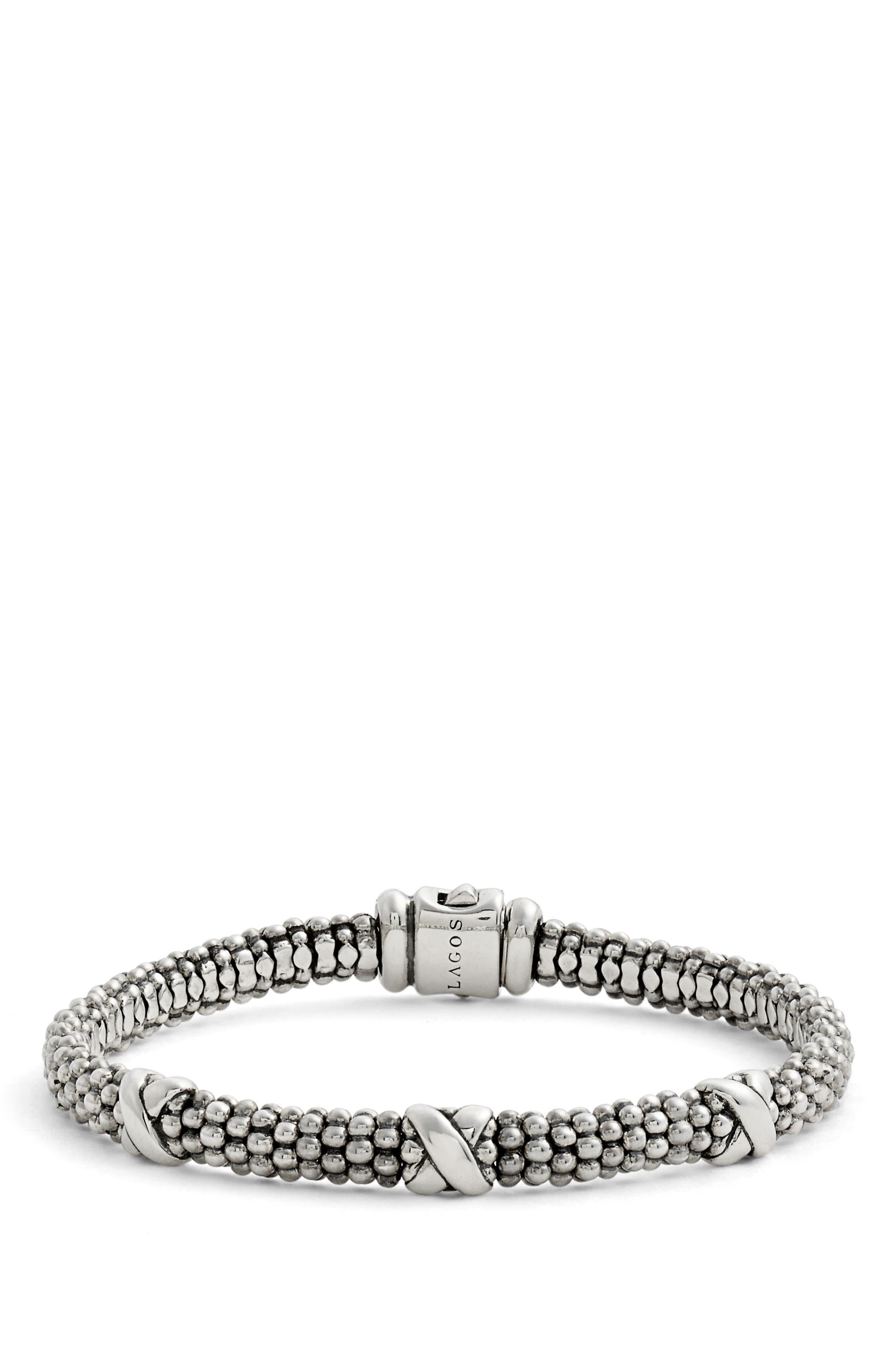 'Signature Caviar' Mini Oval Rope Bracelet,                             Alternate thumbnail 3, color,                             STERLING SILVER