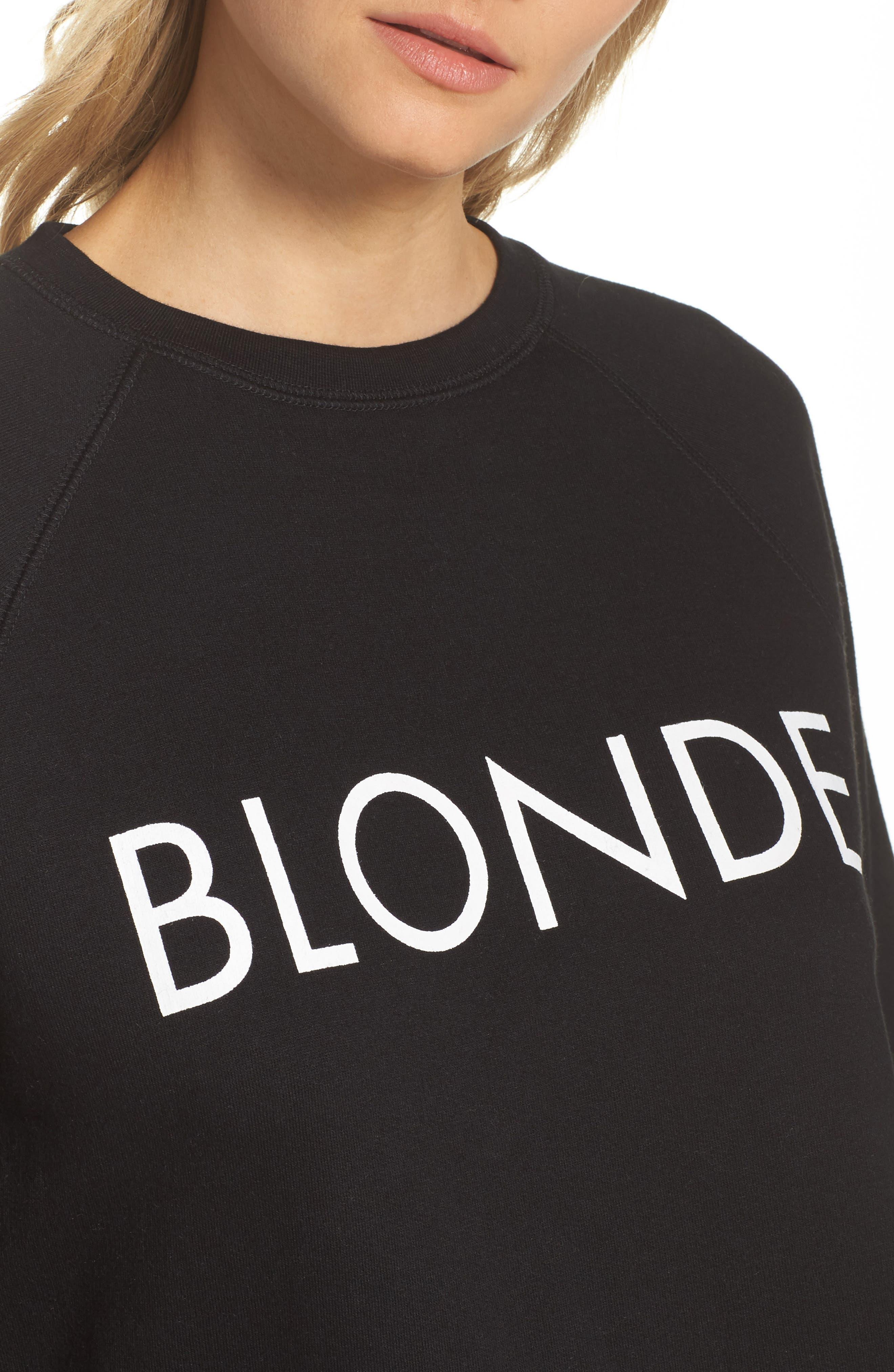 Blonde Raw Hem Sweatshirt,                             Alternate thumbnail 4, color,                             005