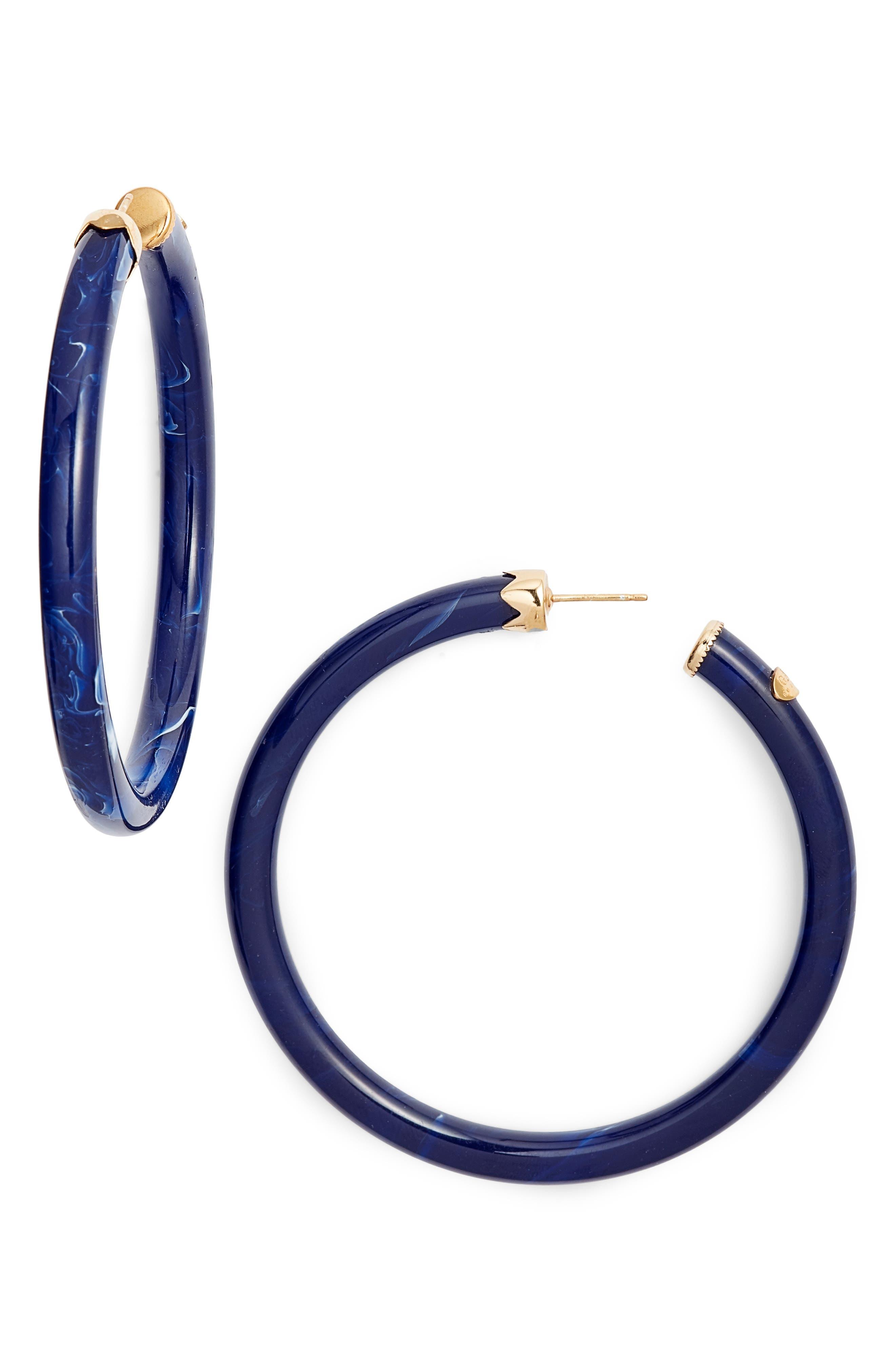 Caftan Large Hoop Earrings,                         Main,                         color, BLUE