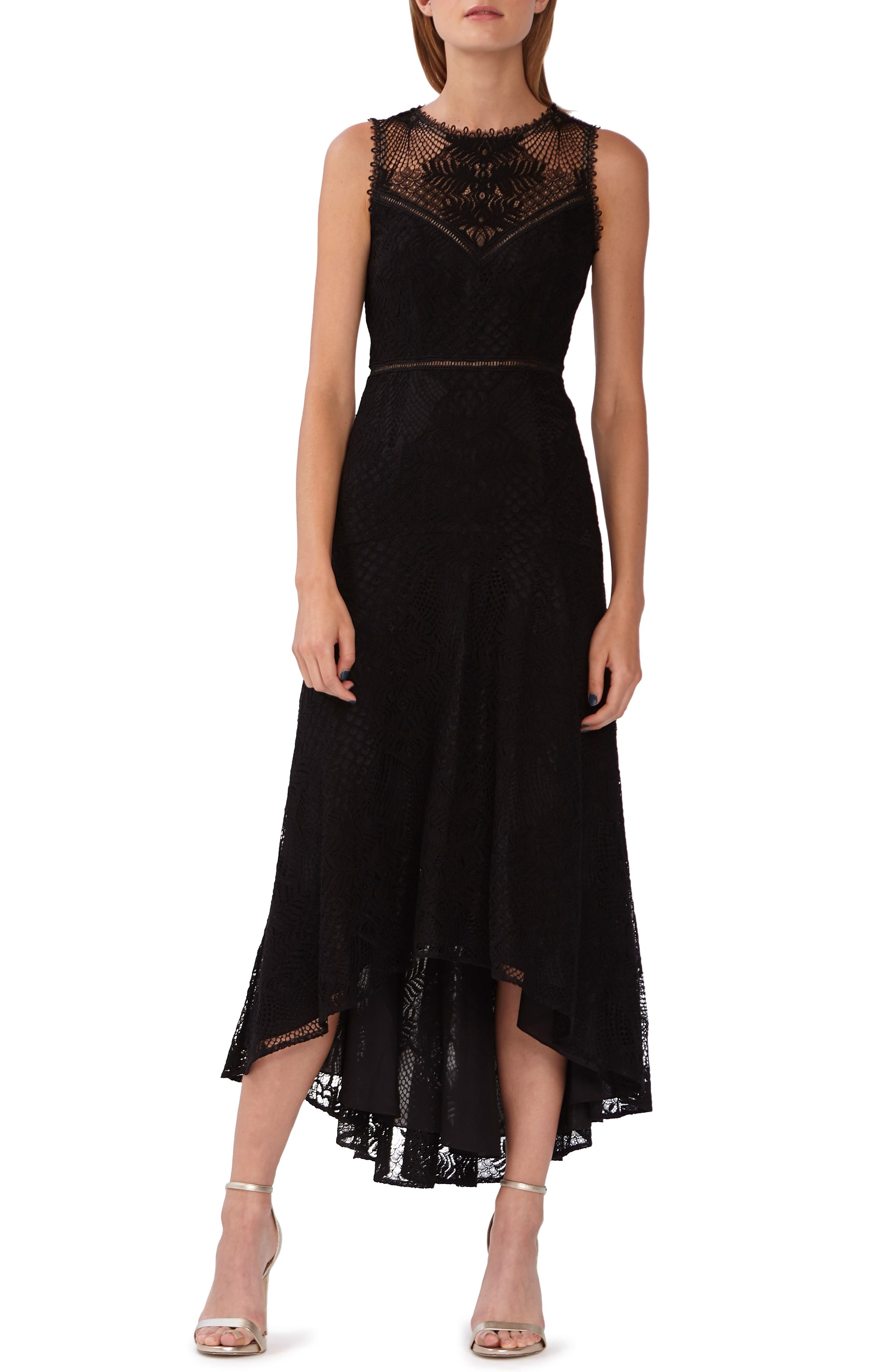 Ml Monique Lhuillier Lace High/low Evening Dress, Black