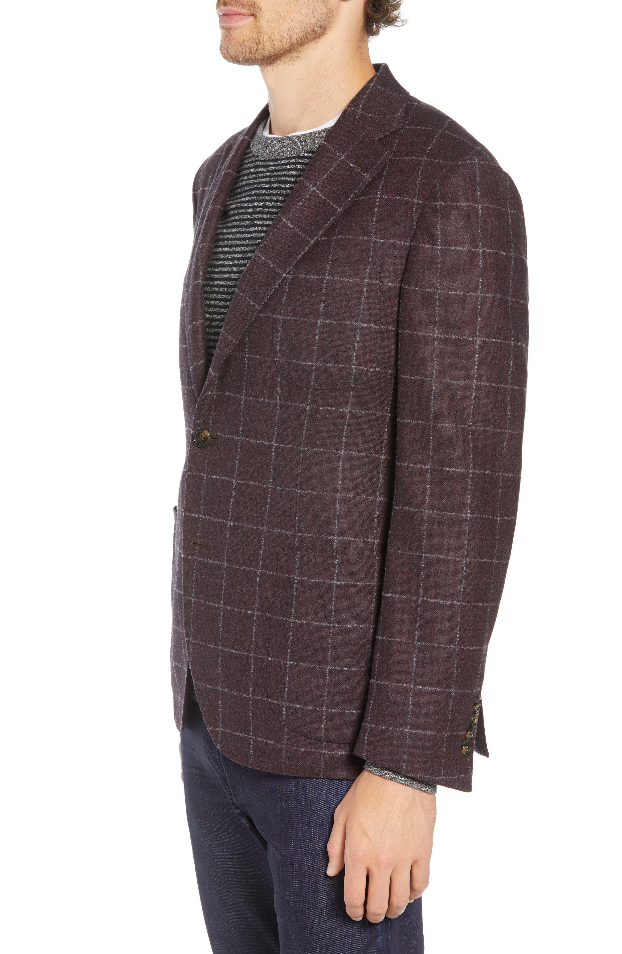 Trim Fit Windowpane Wool & Cashmere Sport Coat,                             Alternate thumbnail 3, color,                             DARK RED