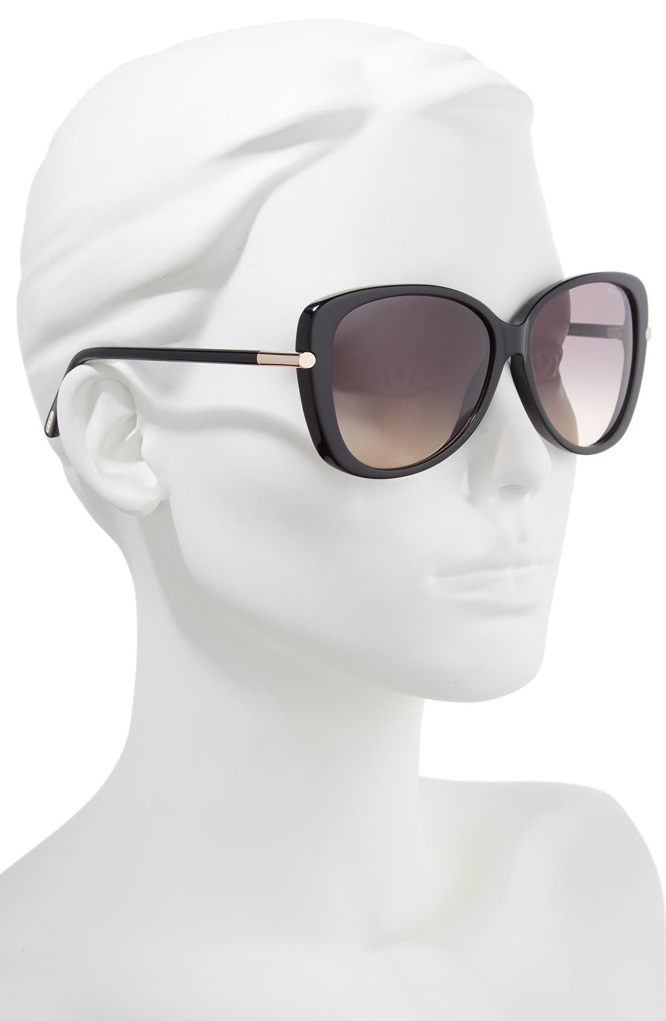 'Linda' 59mm Sunglasses,                             Alternate thumbnail 3, color,                             SHINY BLACK