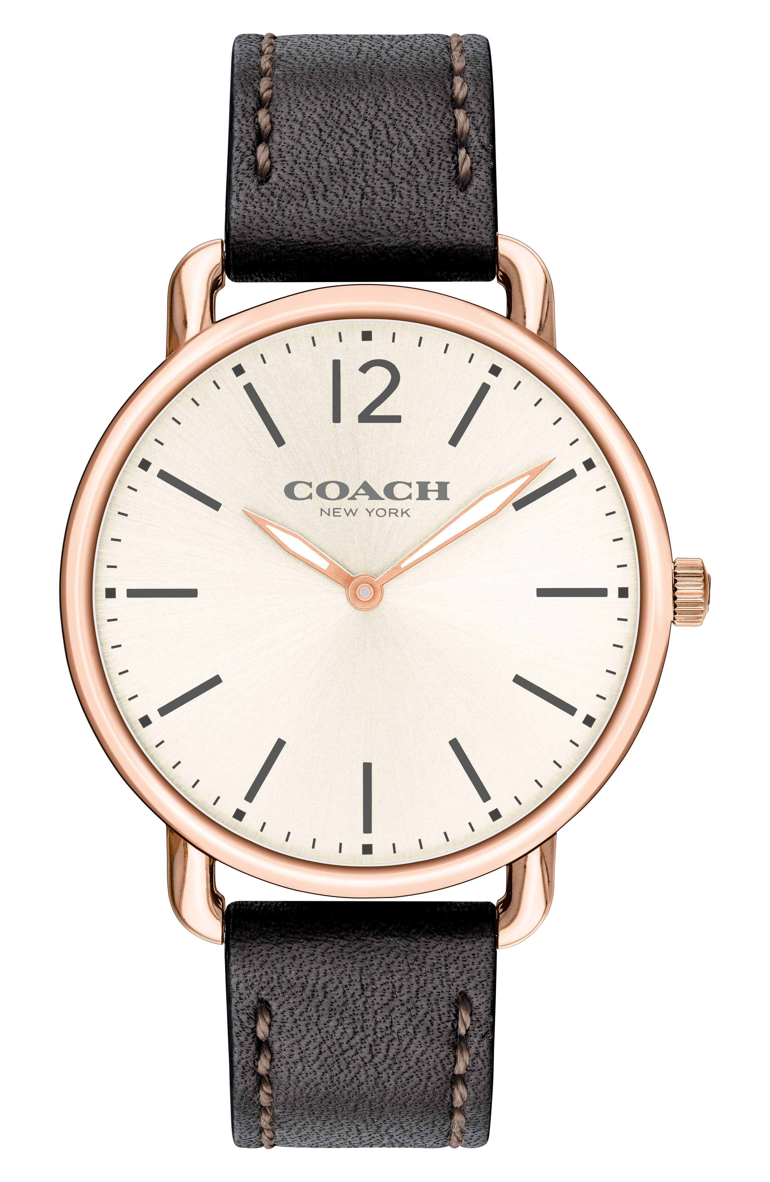 Delancey Leather Strap Watch, 40mm,                             Main thumbnail 1, color,                             BLACK/ CHALK/ ROSE GOLD