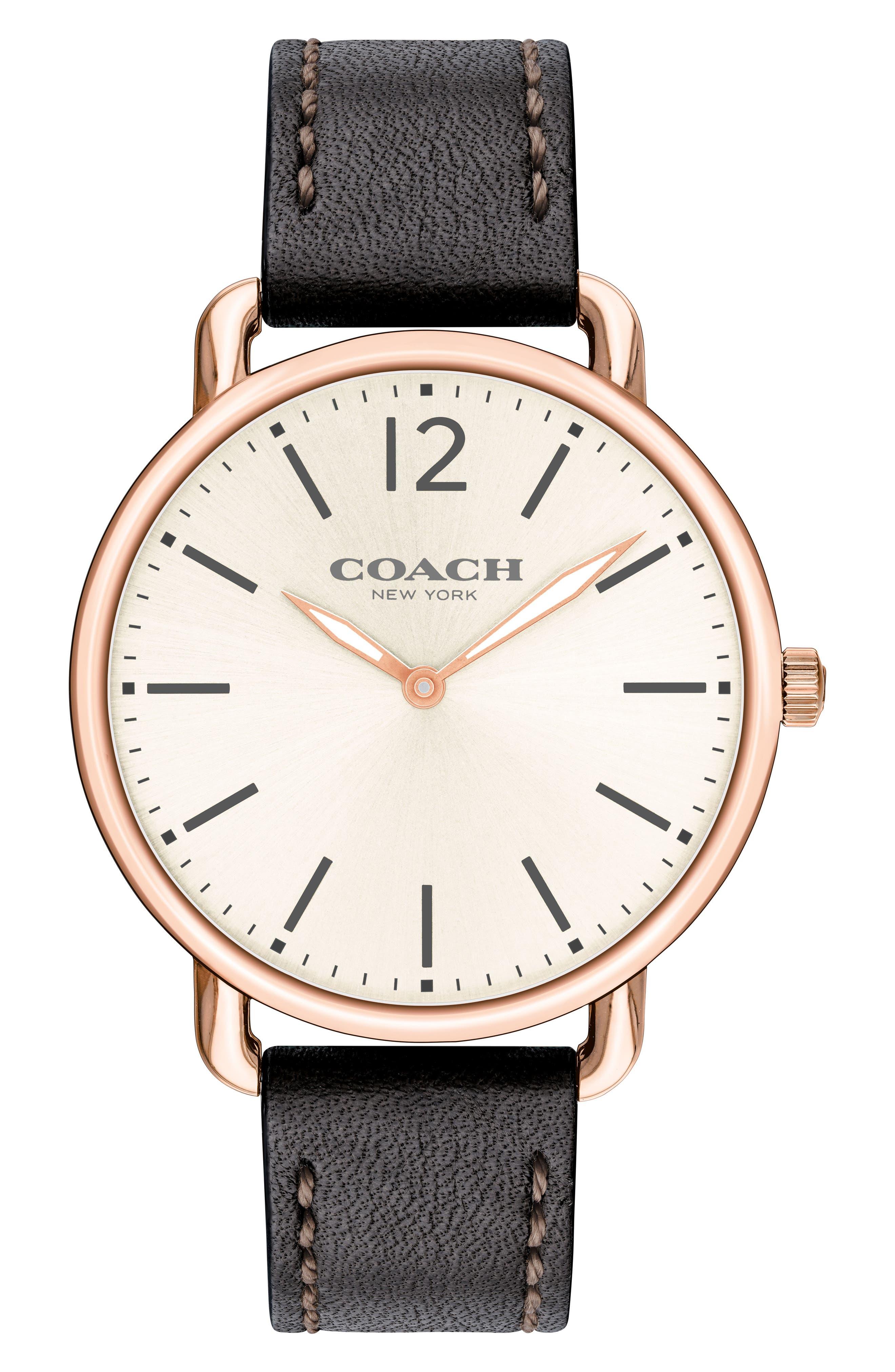 Delancey Leather Strap Watch, 40mm,                         Main,                         color, BLACK/ CHALK/ ROSE GOLD