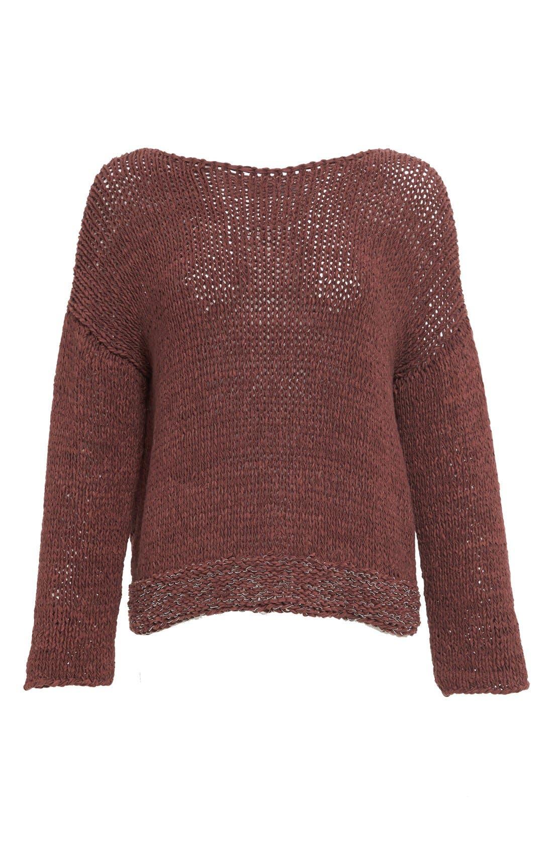 Mollini Trim Cotton Blend Sweater,                             Alternate thumbnail 4, color,                             601