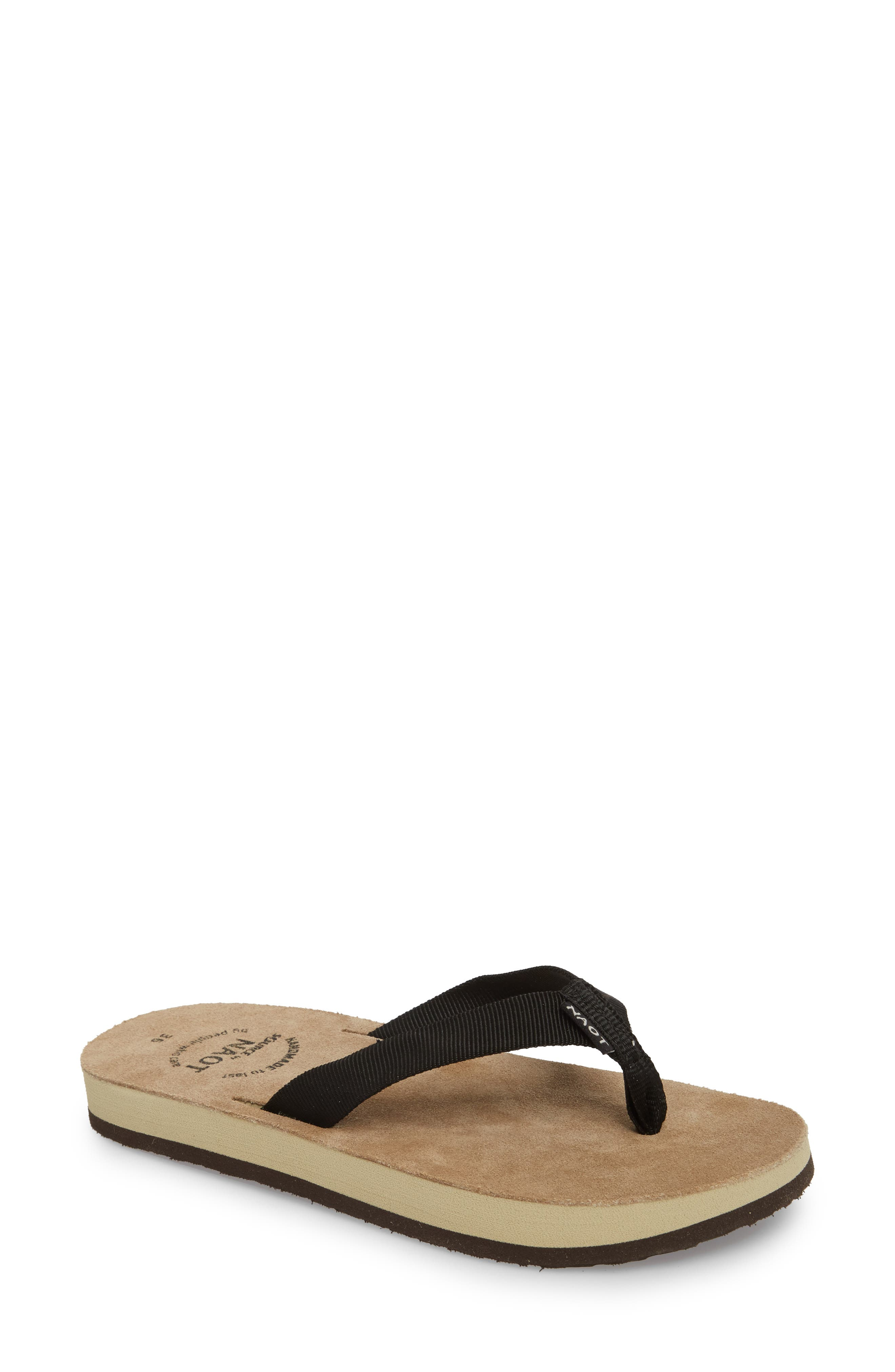 Island Flip Flop,                         Main,                         color, BLACK FABRIC