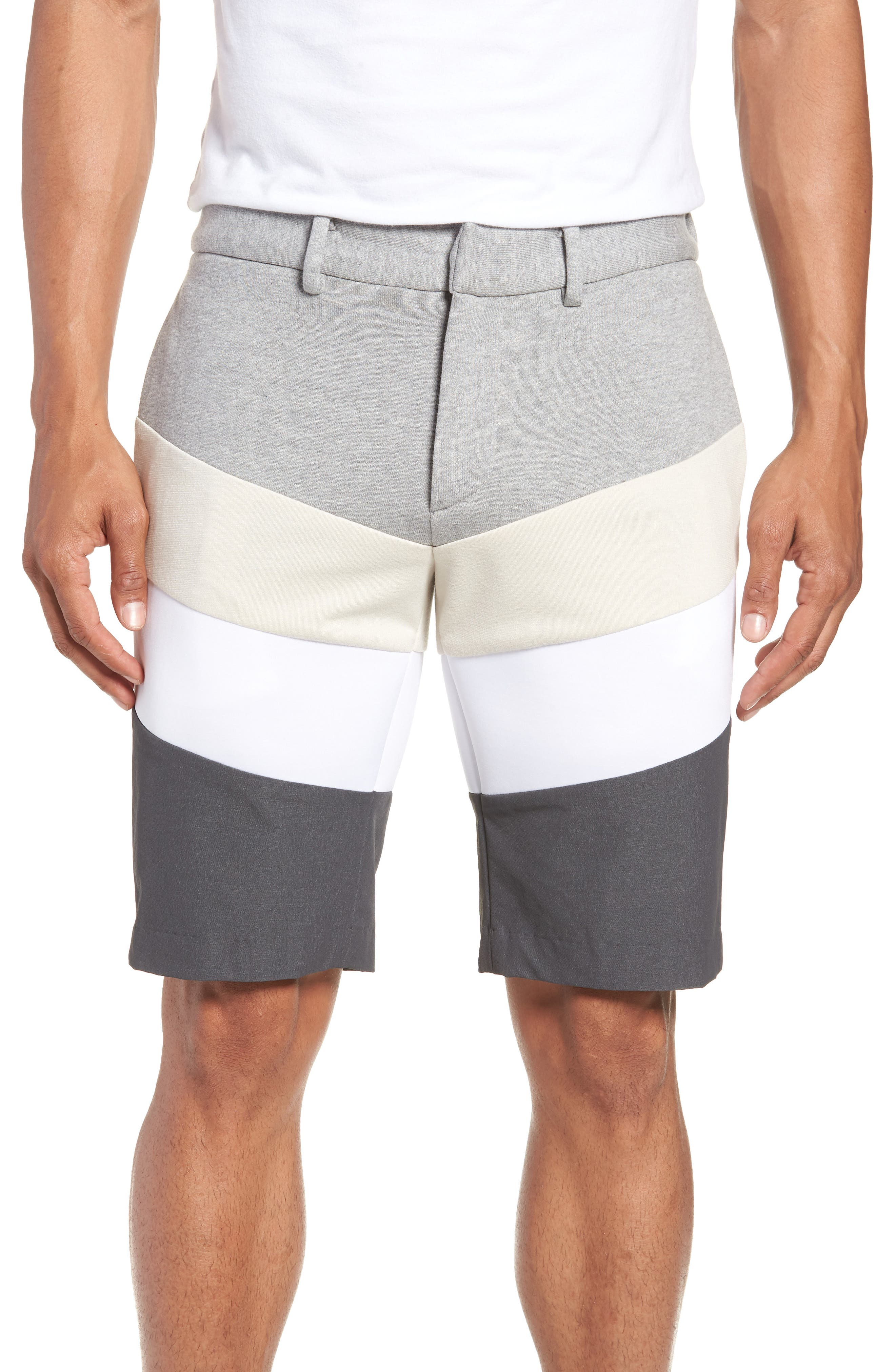 Chevron Colorblock Shorts,                             Main thumbnail 1, color,                             HEATHER GREY