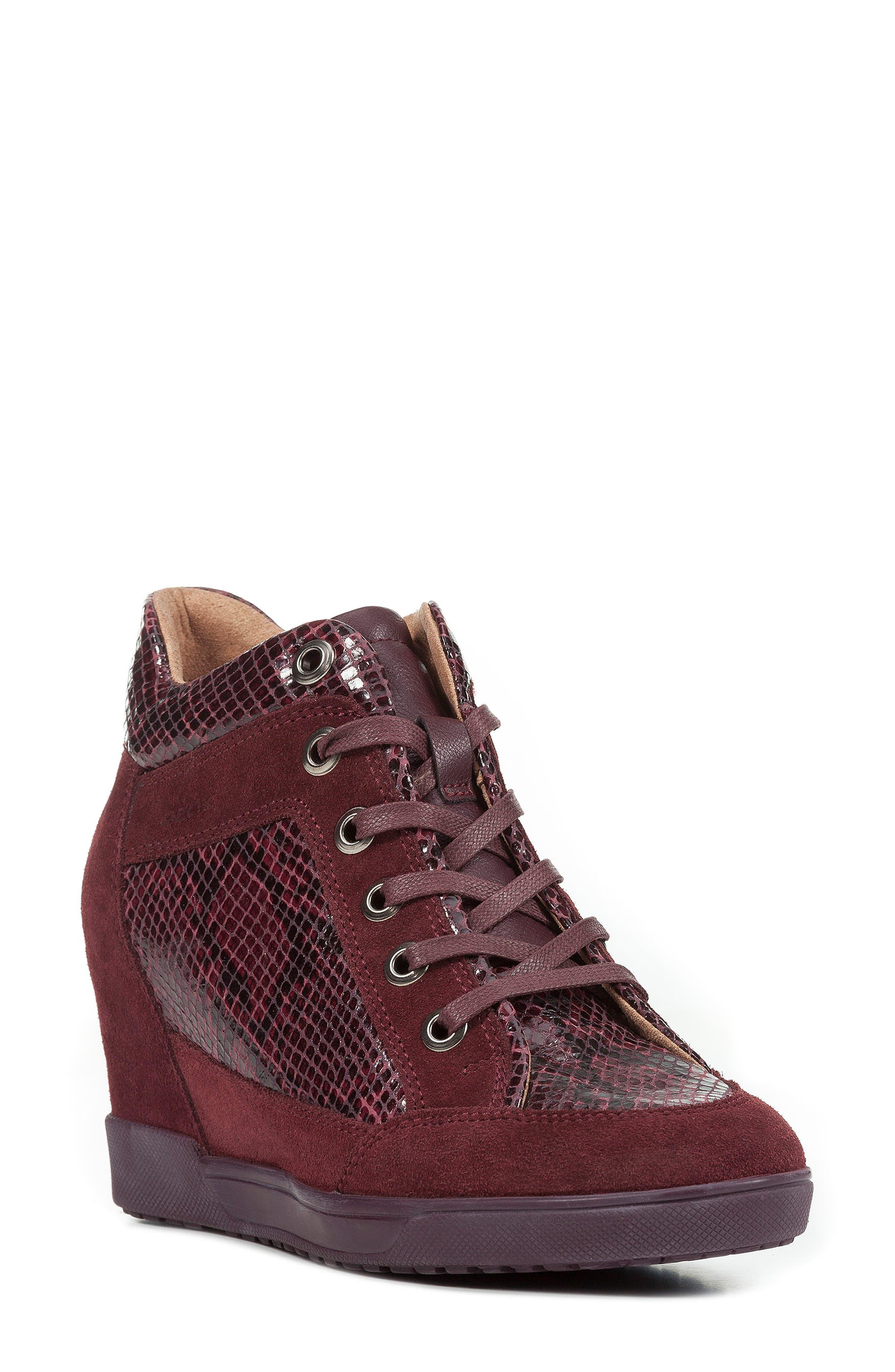 Carum Wedge Sneaker in Dark Burgundy/ Burgundy Suede