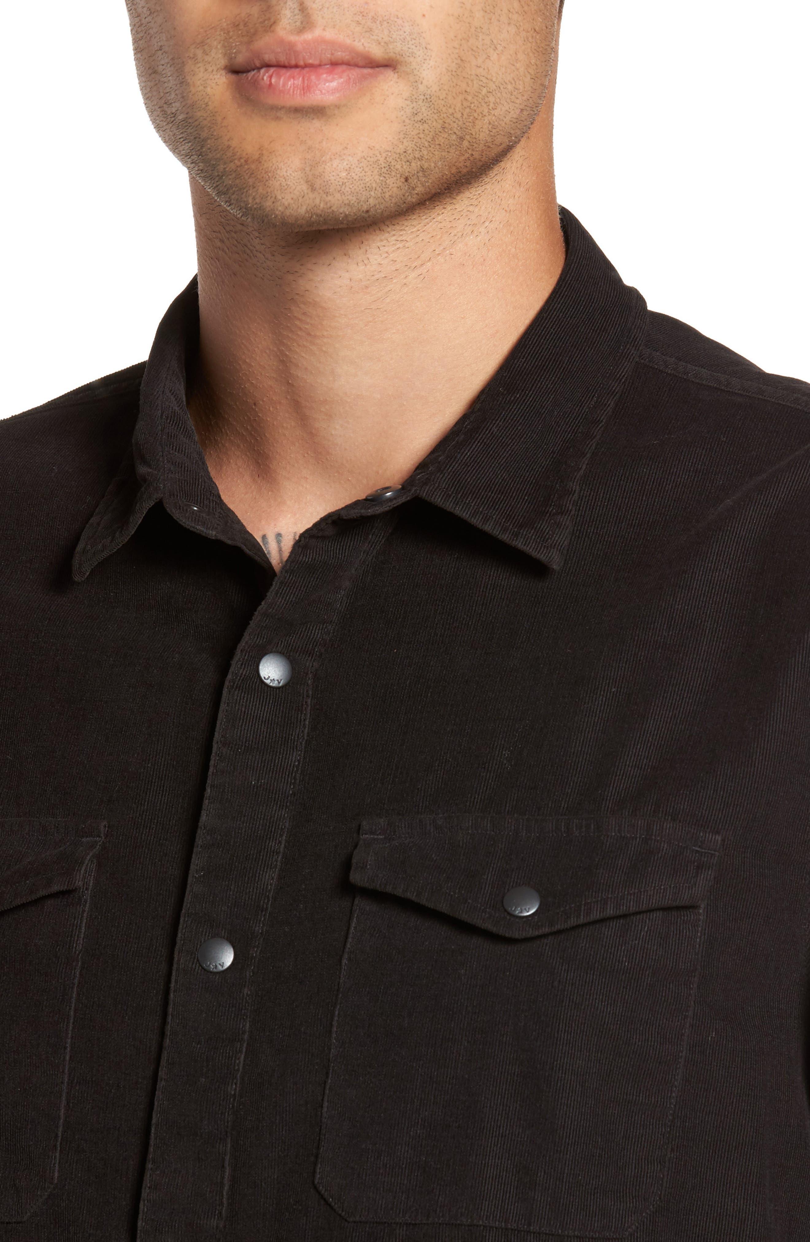 Snap Front Corduroy Sport Shirt,                             Alternate thumbnail 4, color,                             001