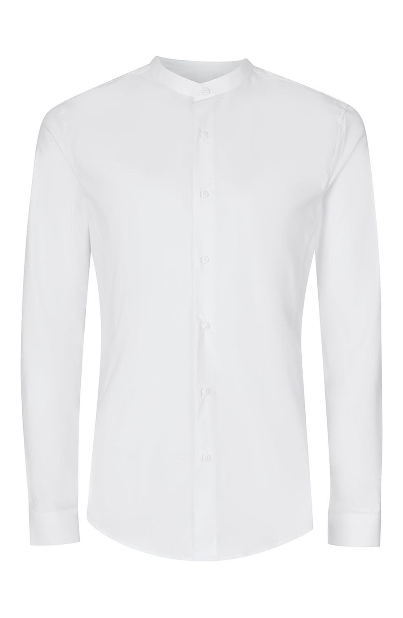 Band Collar Skinny Fit Dress Shirt,                             Alternate thumbnail 6, color,                             WHITE