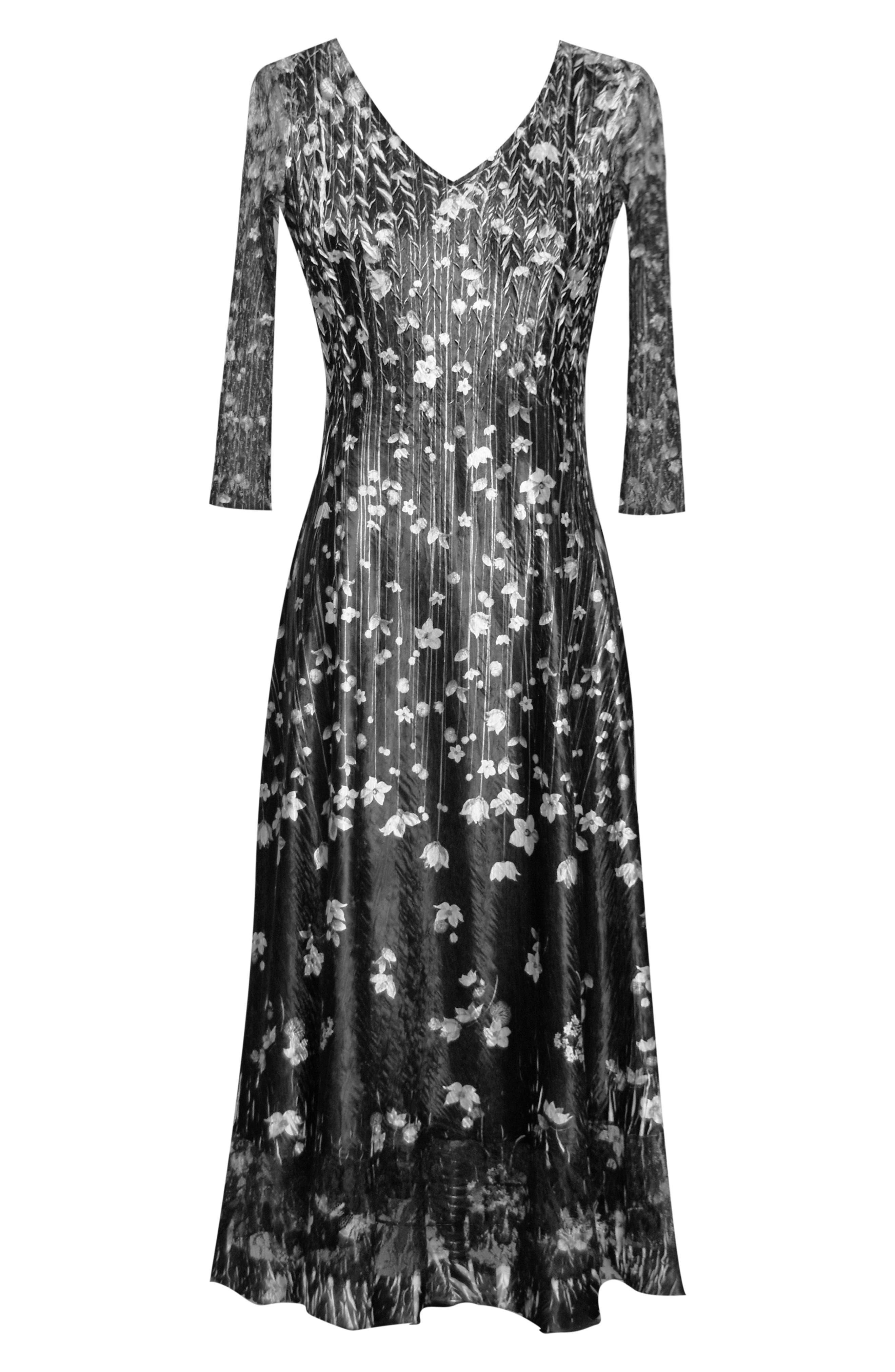 KOMAROV,                             Charmeuse A-Line Dress,                             Alternate thumbnail 4, color,                             BLACK MEADOW