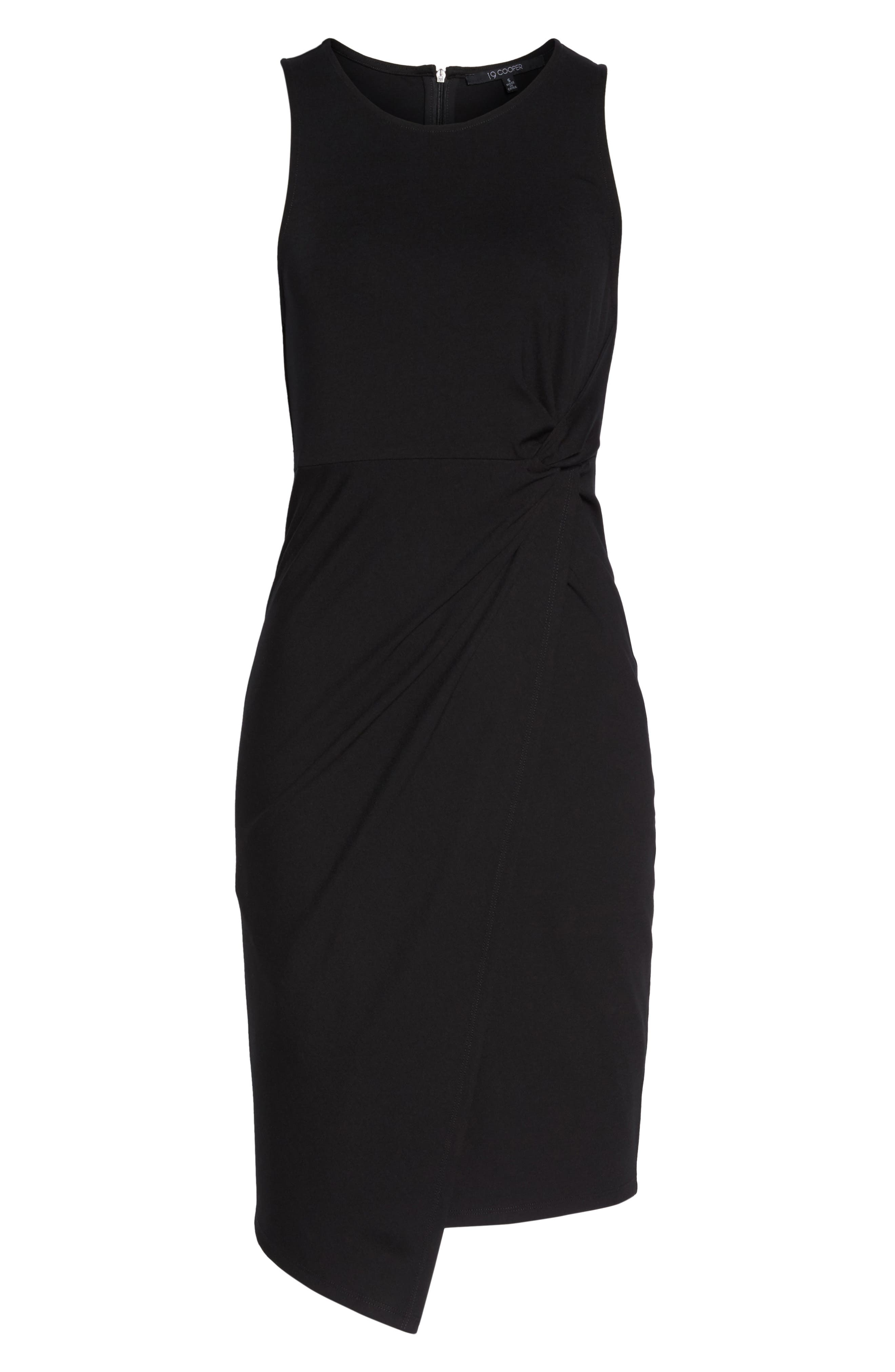 Asymmetric Hem Sheath Dress,                             Alternate thumbnail 6, color,                             001