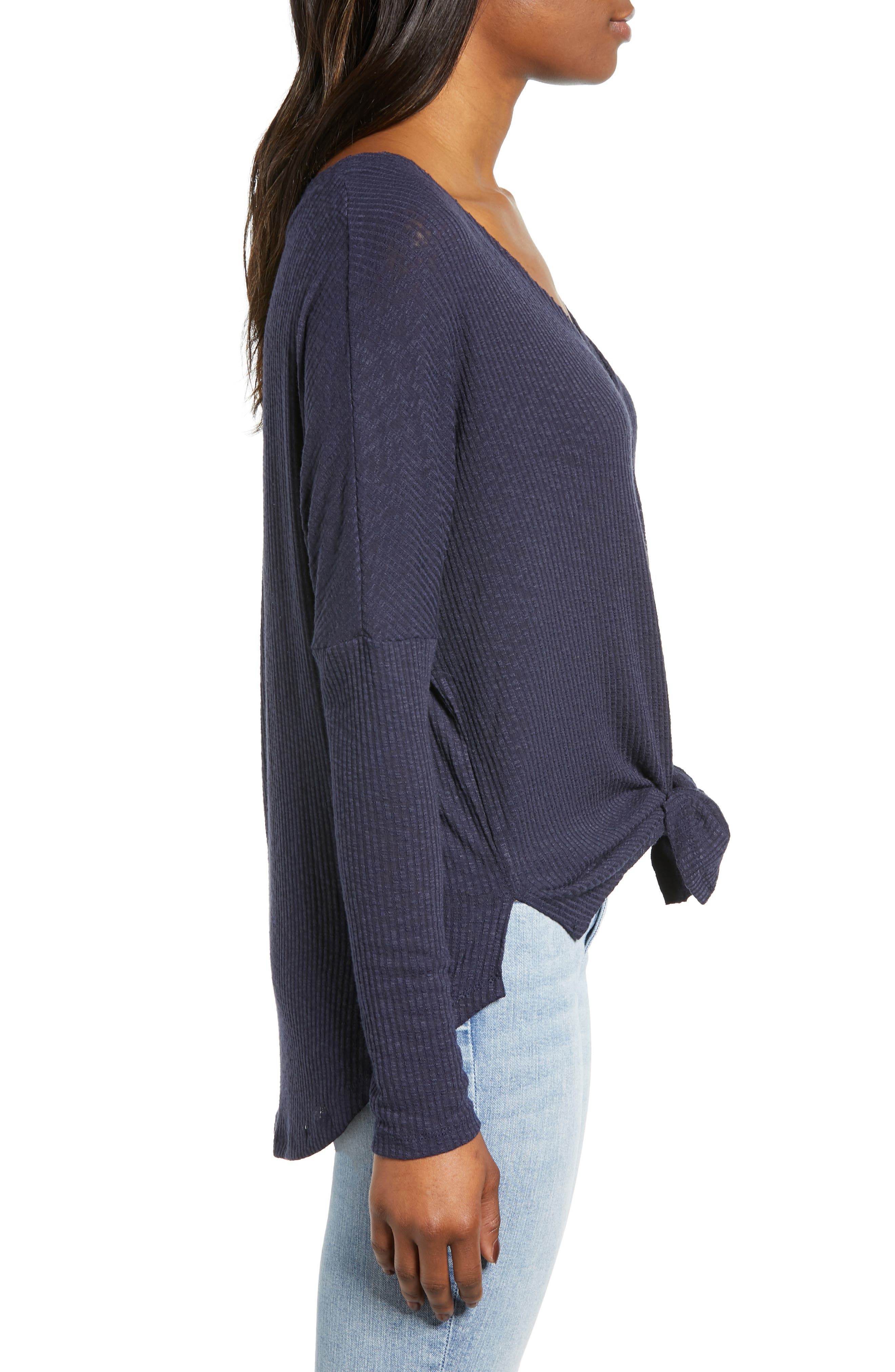 Button Front Ribbed Knit Top,                             Alternate thumbnail 3, color,                             NAVY PEACOAT