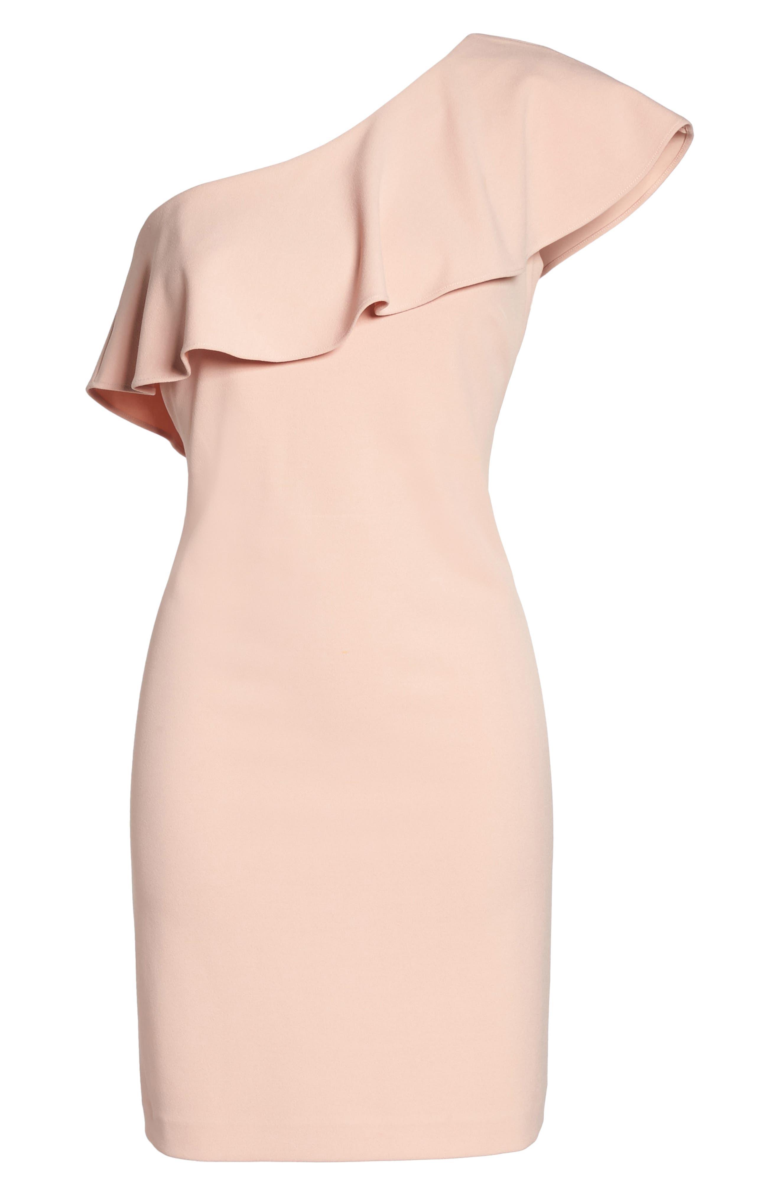 Ruffle One-Shoulder Shift Dress,                             Alternate thumbnail 6, color,                             650