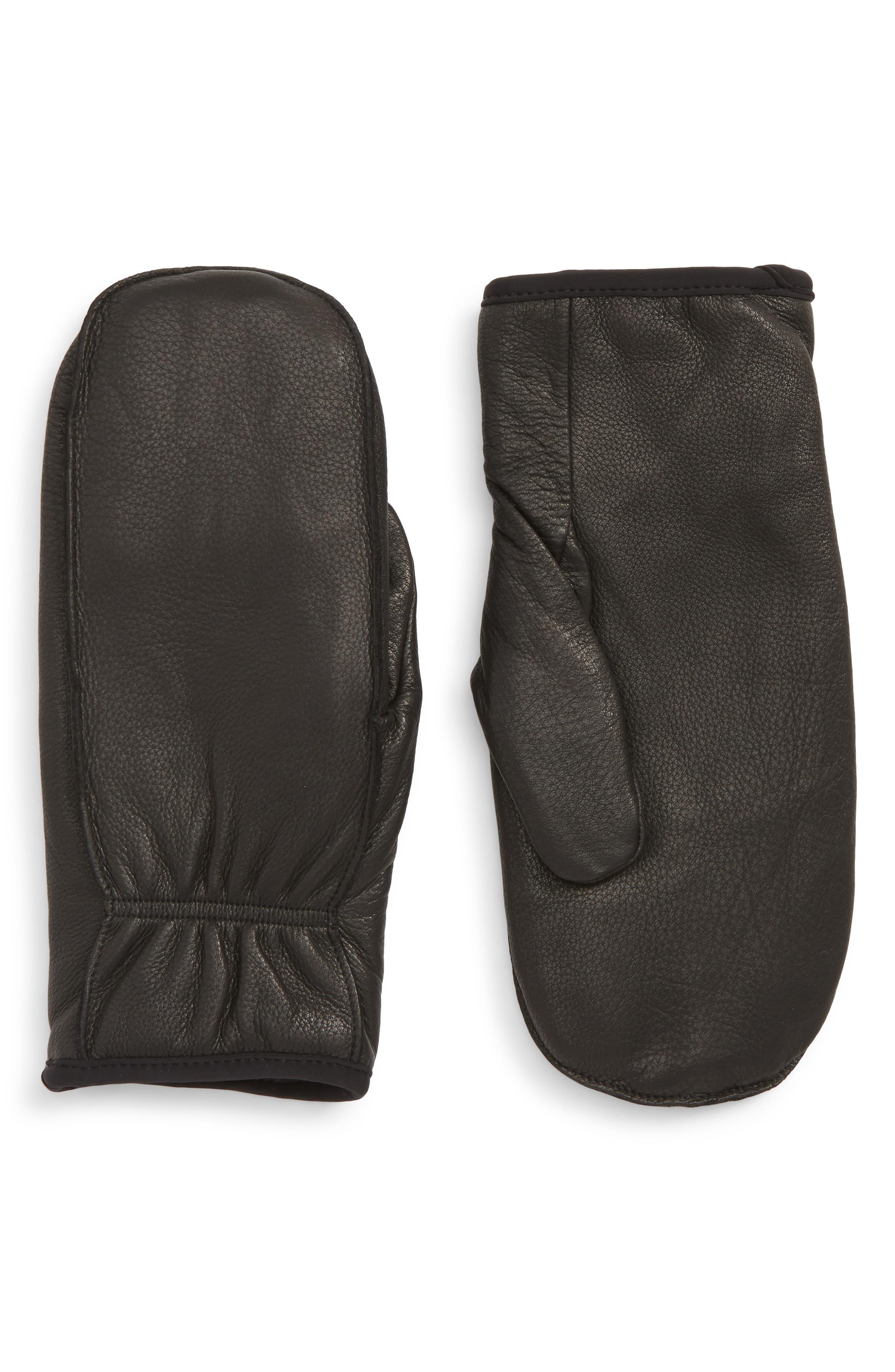 Finger Lined Deerskin Mittens,                         Main,                         color, BLACK
