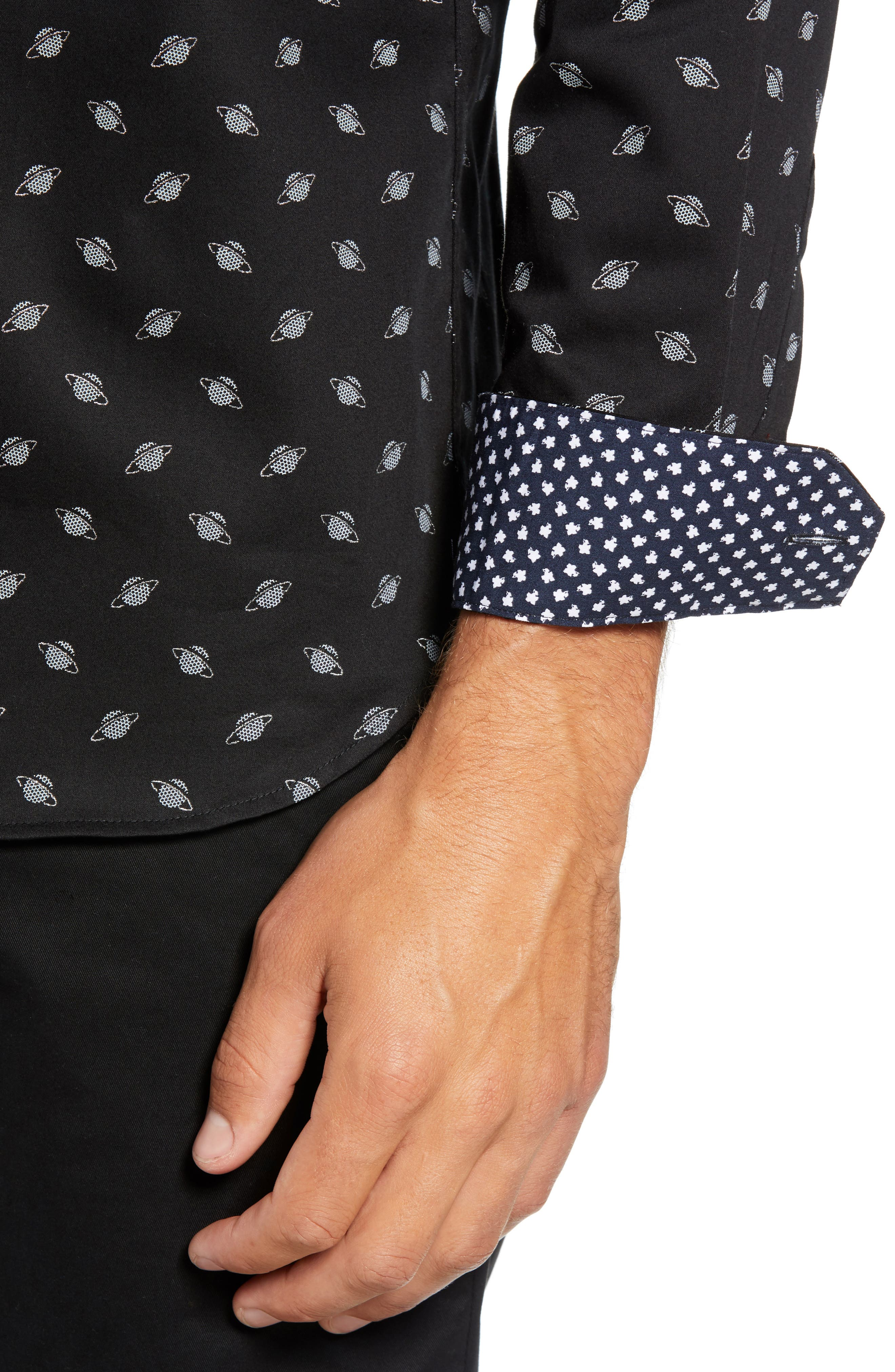 Greenpa Slim Fit Print Sport Shirt,                             Alternate thumbnail 2, color,                             BLACK