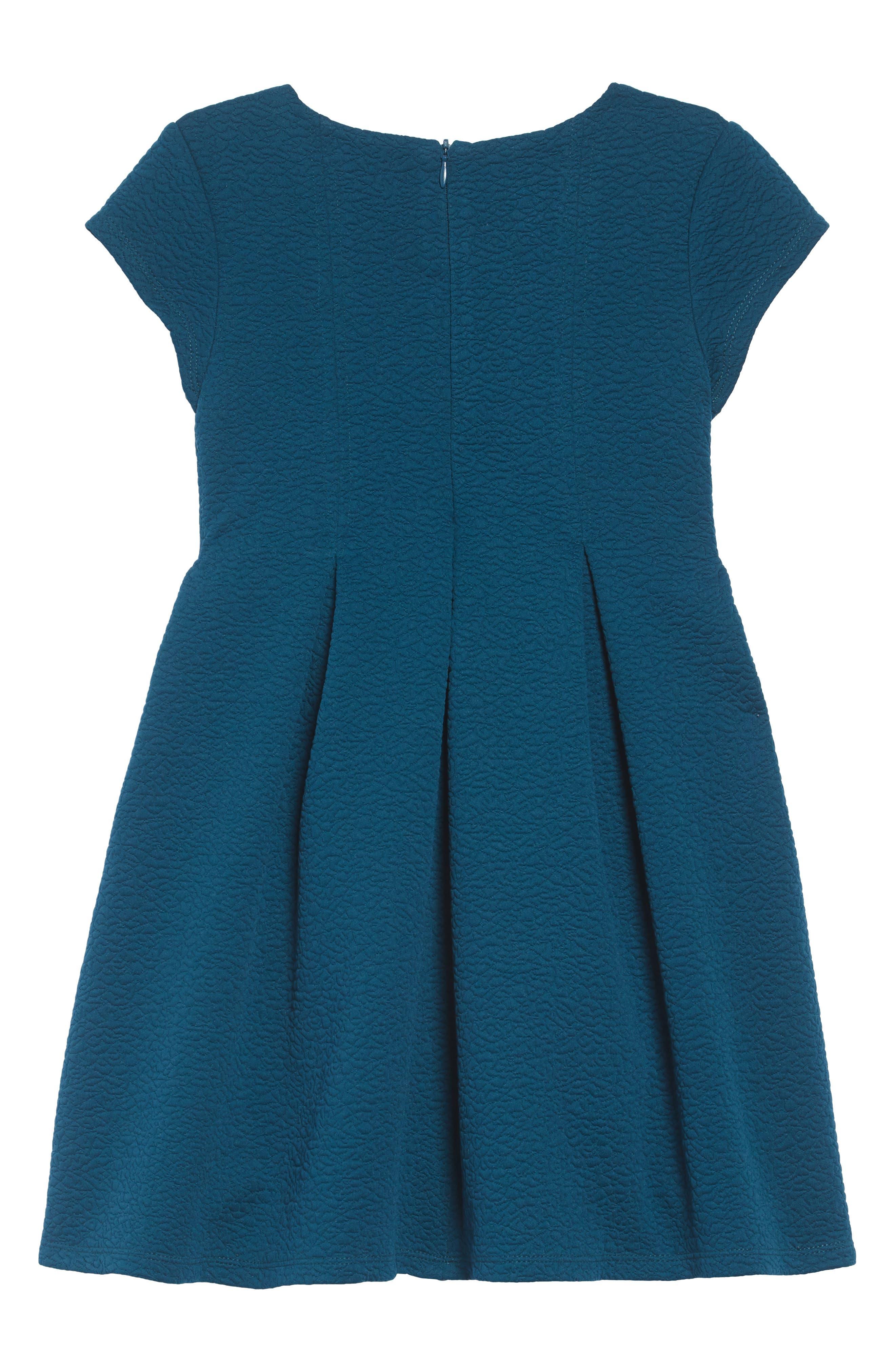 Textured Skater Dress,                             Alternate thumbnail 2, color,                             PEACOCK