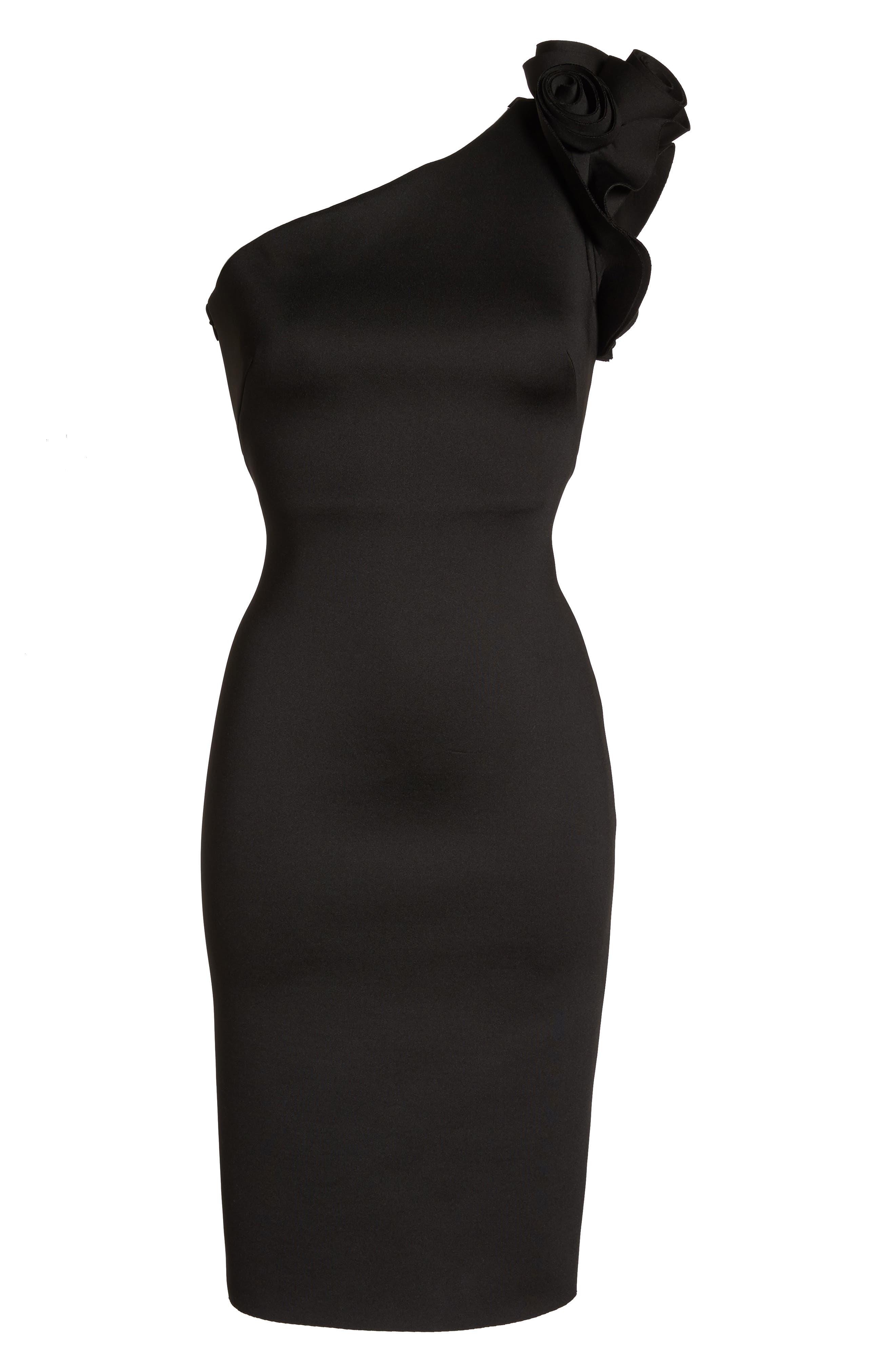 One-Shoulder Sheath Dress,                             Alternate thumbnail 6, color,                             BLACK