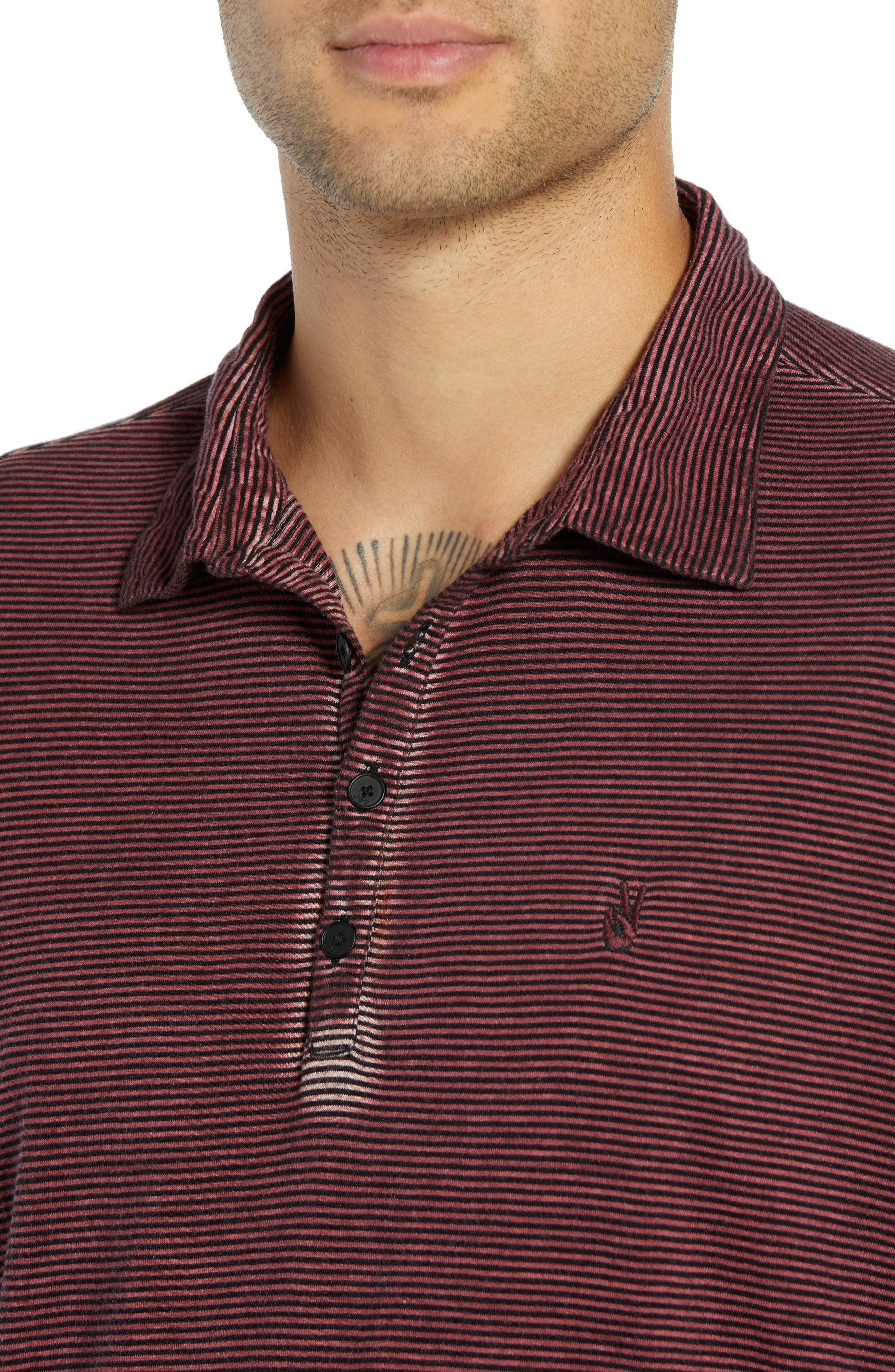 Striped Long Sleeve Polo,                             Alternate thumbnail 4, color,                             BORDEAUX