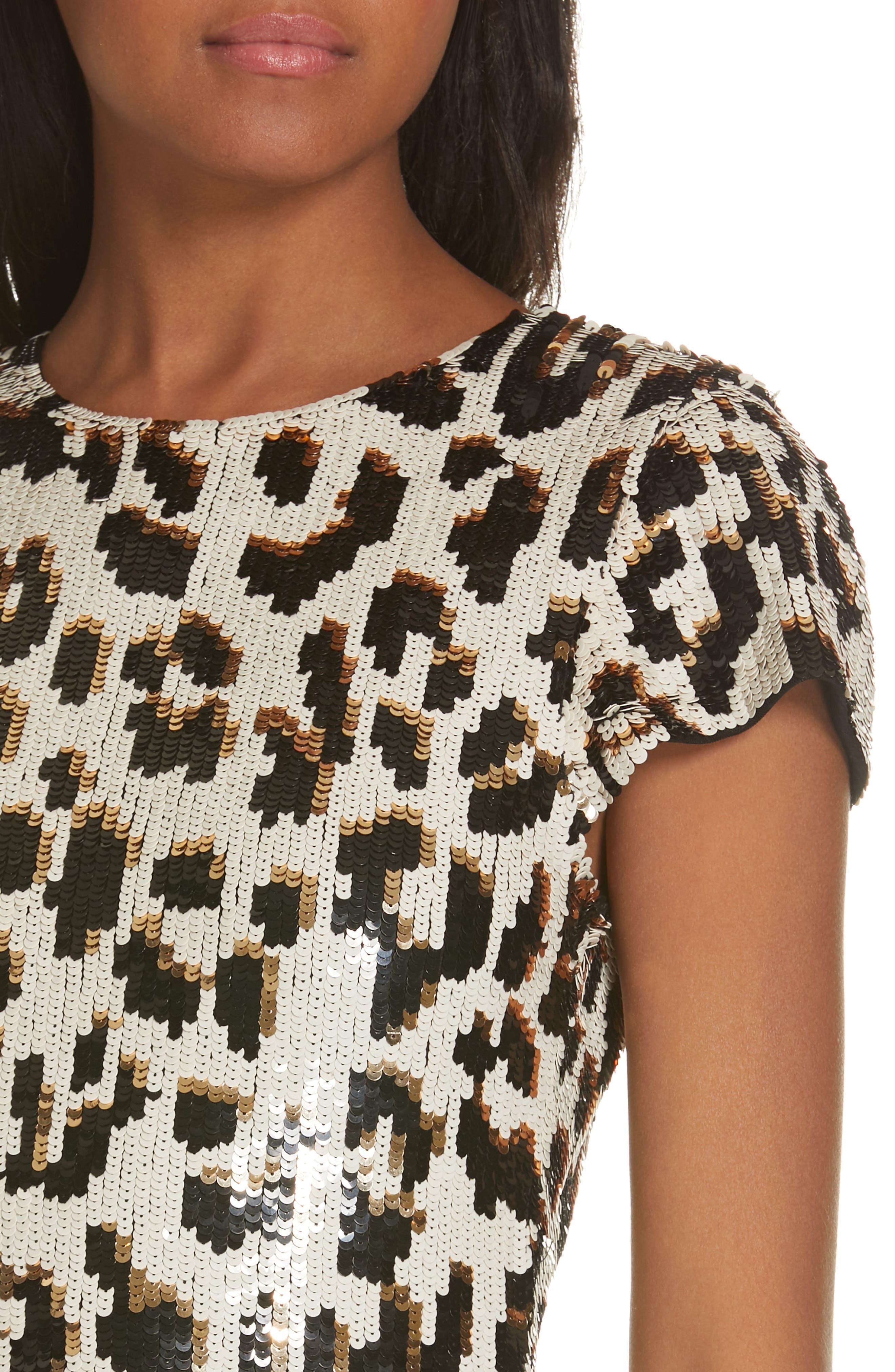 ALICE + OLIVIA,                             Nat Sequin Sheath Dress,                             Alternate thumbnail 4, color,                             LEOPARD