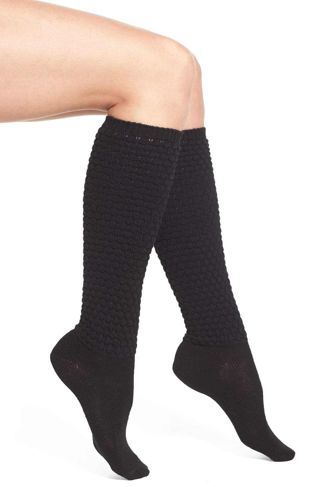 HUE,                             Quilted Knee Socks,                             Main thumbnail 1, color,                             001