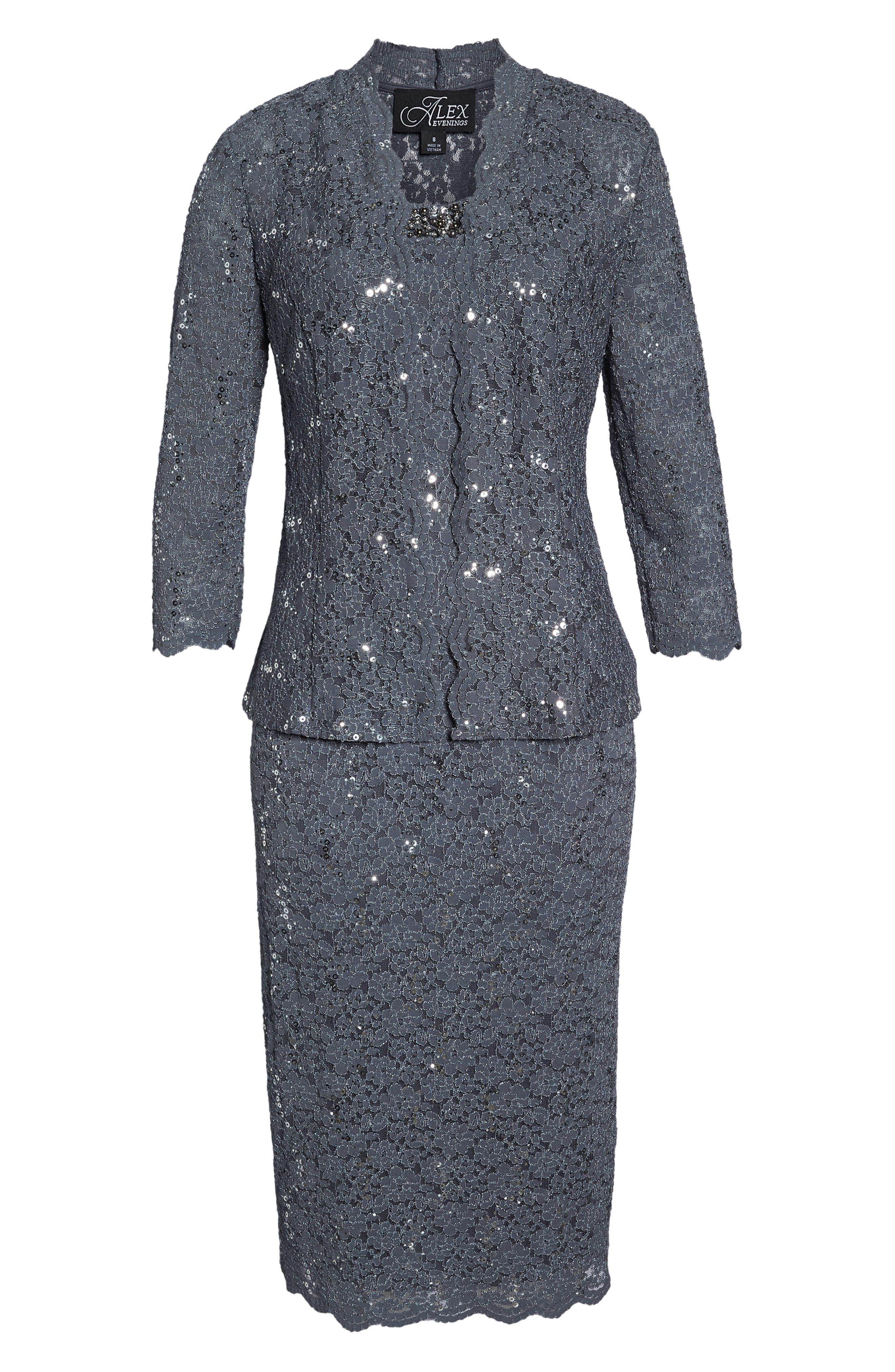 Sequin Lace Dress & Jacket,                             Alternate thumbnail 7, color,                             SMOKE