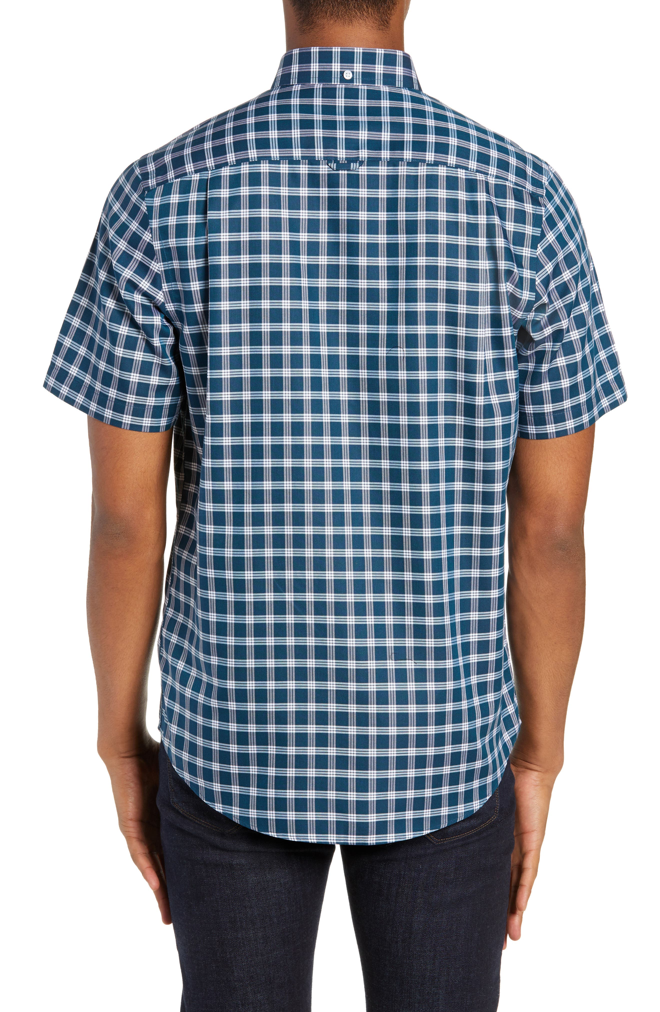 Smartcare<sup>™</sup> Slim Fit Check Sport Shirt,                             Alternate thumbnail 3, color,                             TEAL GLOSS WHITE CHECK