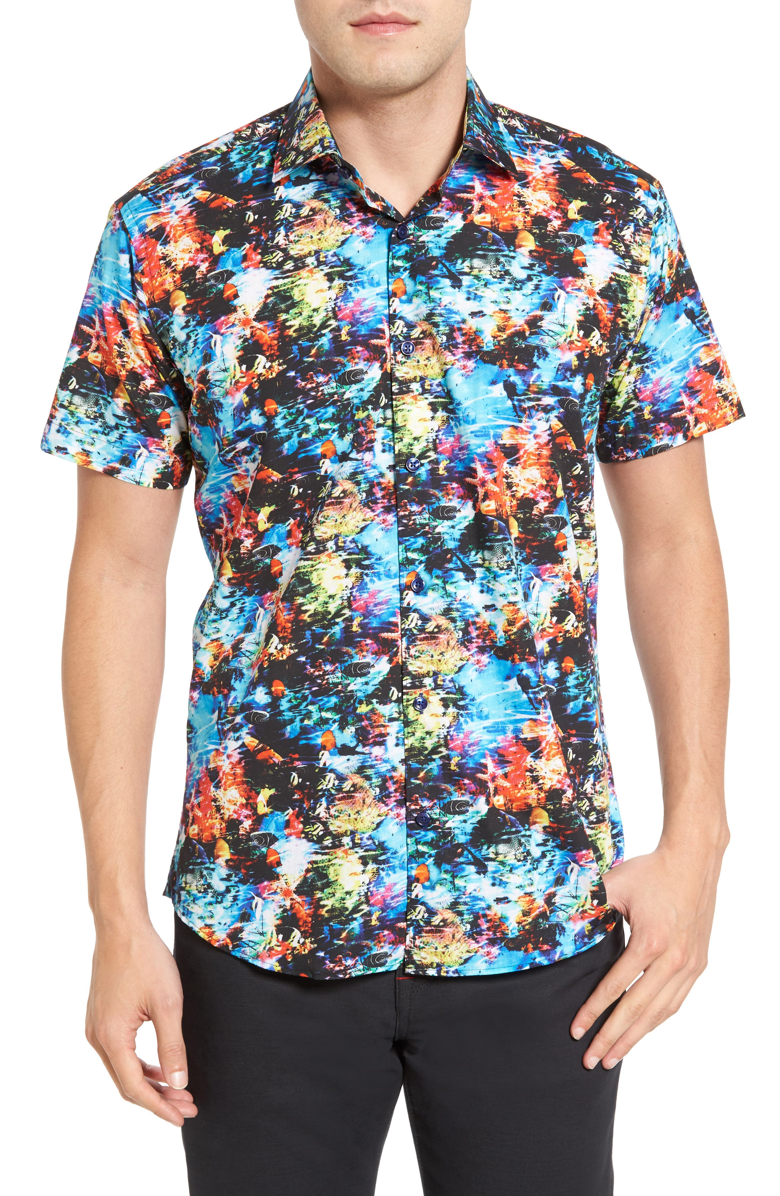 Trim Fit Print Sport Shirt,                         Main,                         color, 440