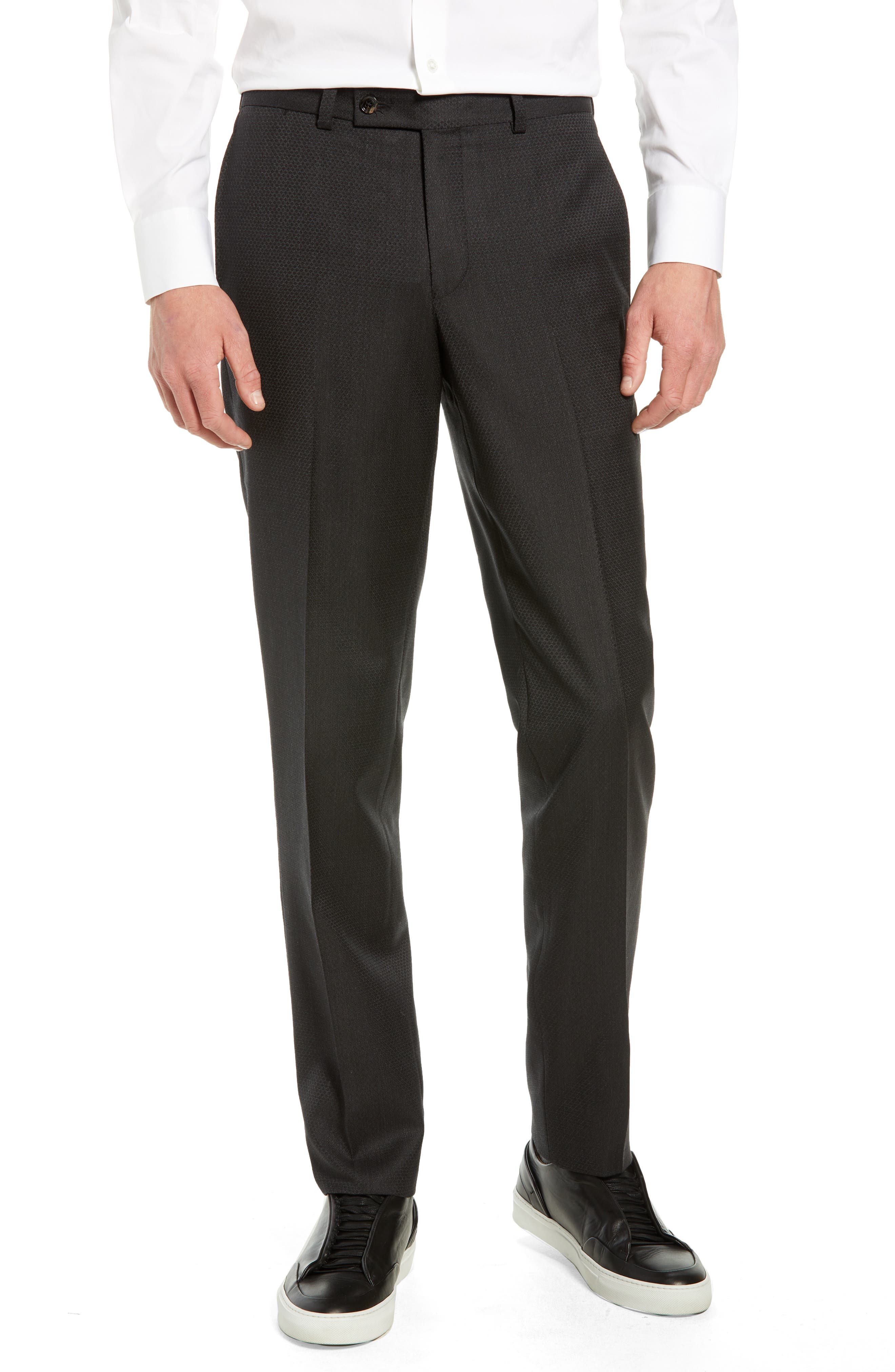 Jefferson Flat Front Solid Wool Trousers,                         Main,                         color, GREY
