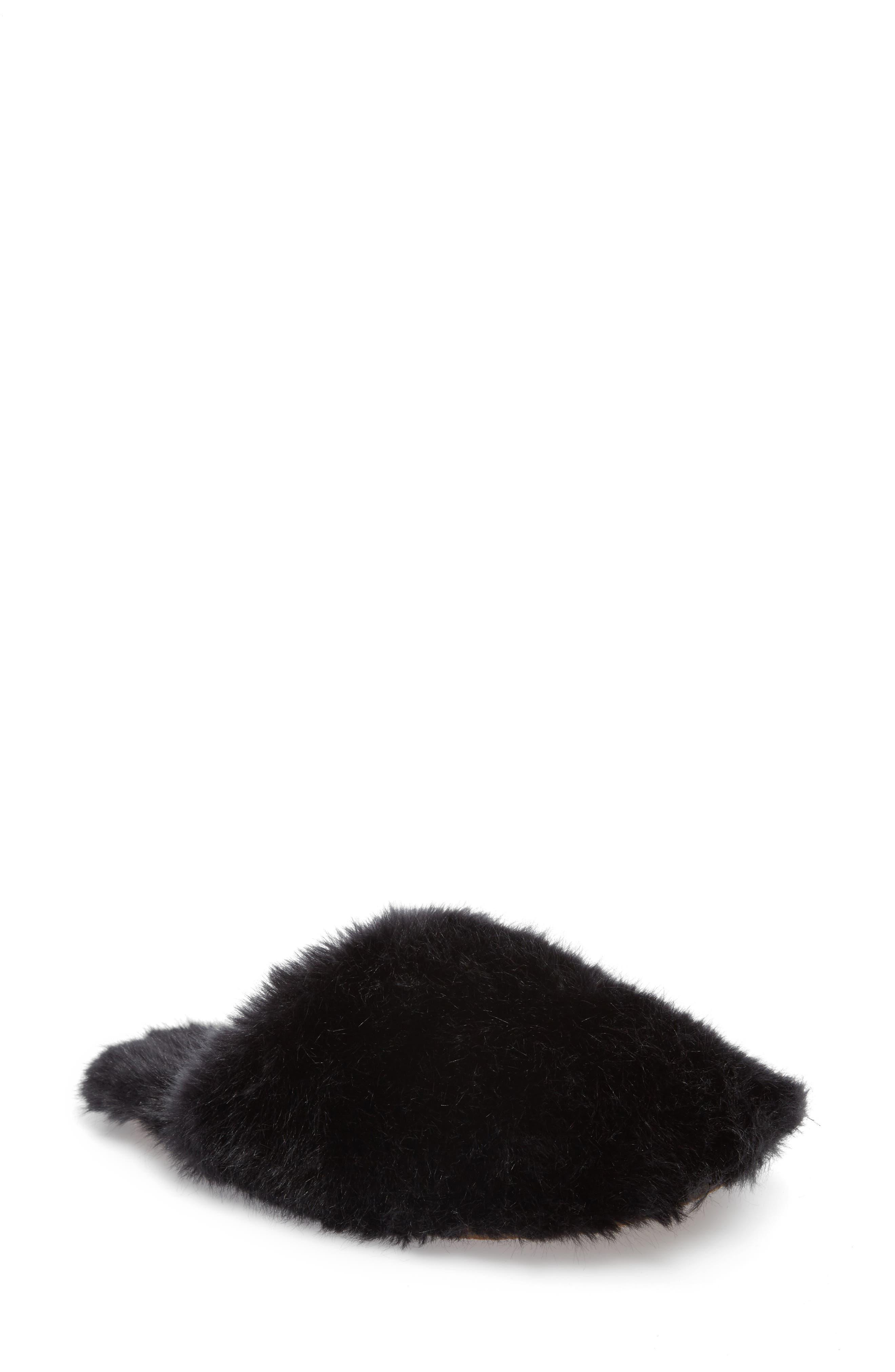 Faux Fur Slipper,                         Main,                         color, BLACK
