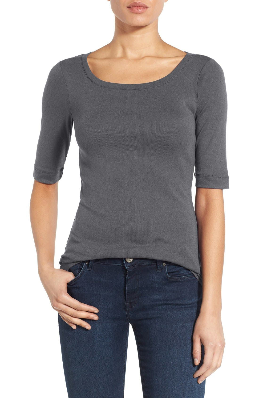 Ballet Neck Cotton & Modal Knit Elbow Sleeve Tee,                             Main thumbnail 17, color,