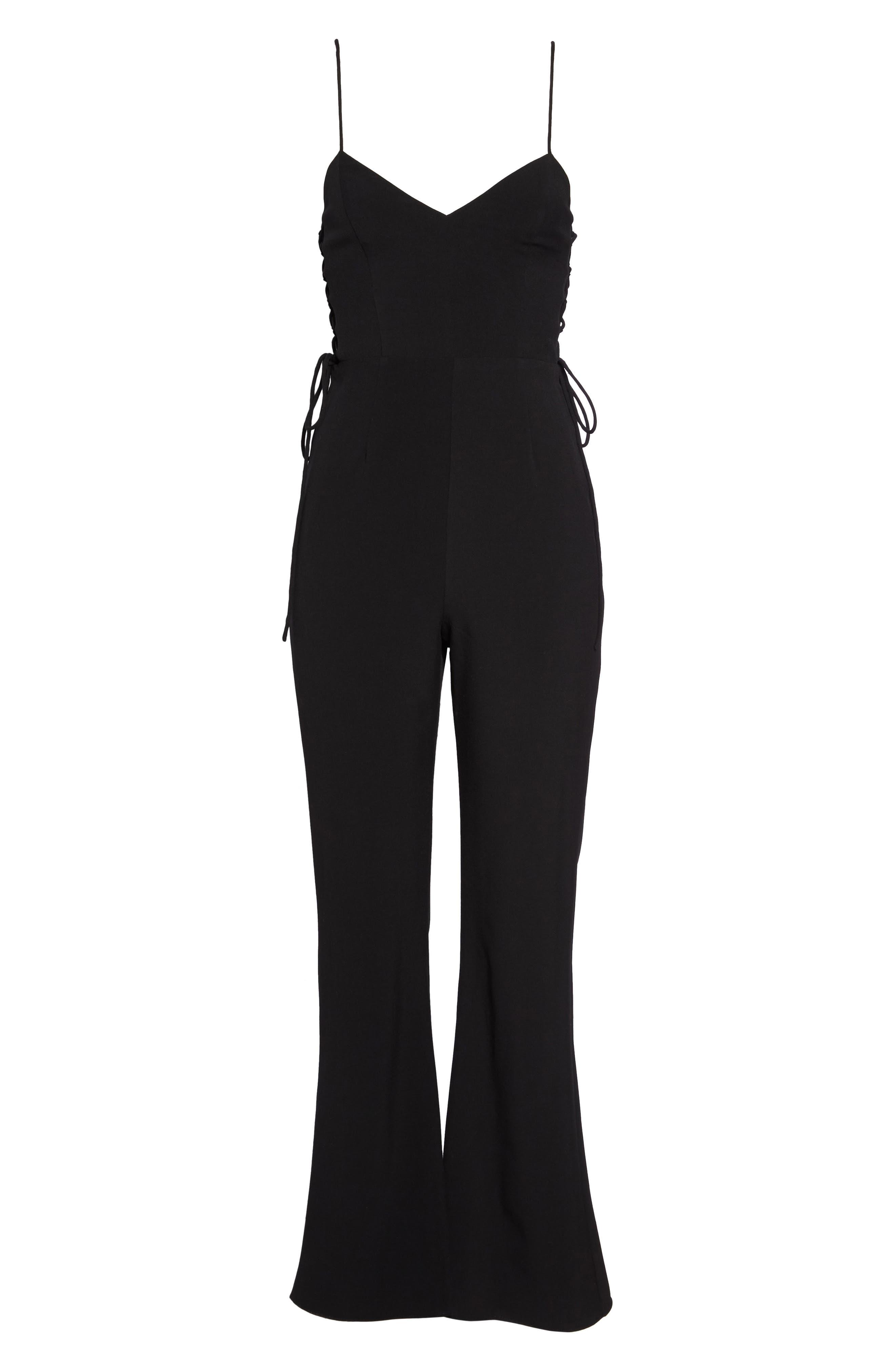 Tania Lace-Up Jumpsuit,                             Alternate thumbnail 6, color,                             BLACK