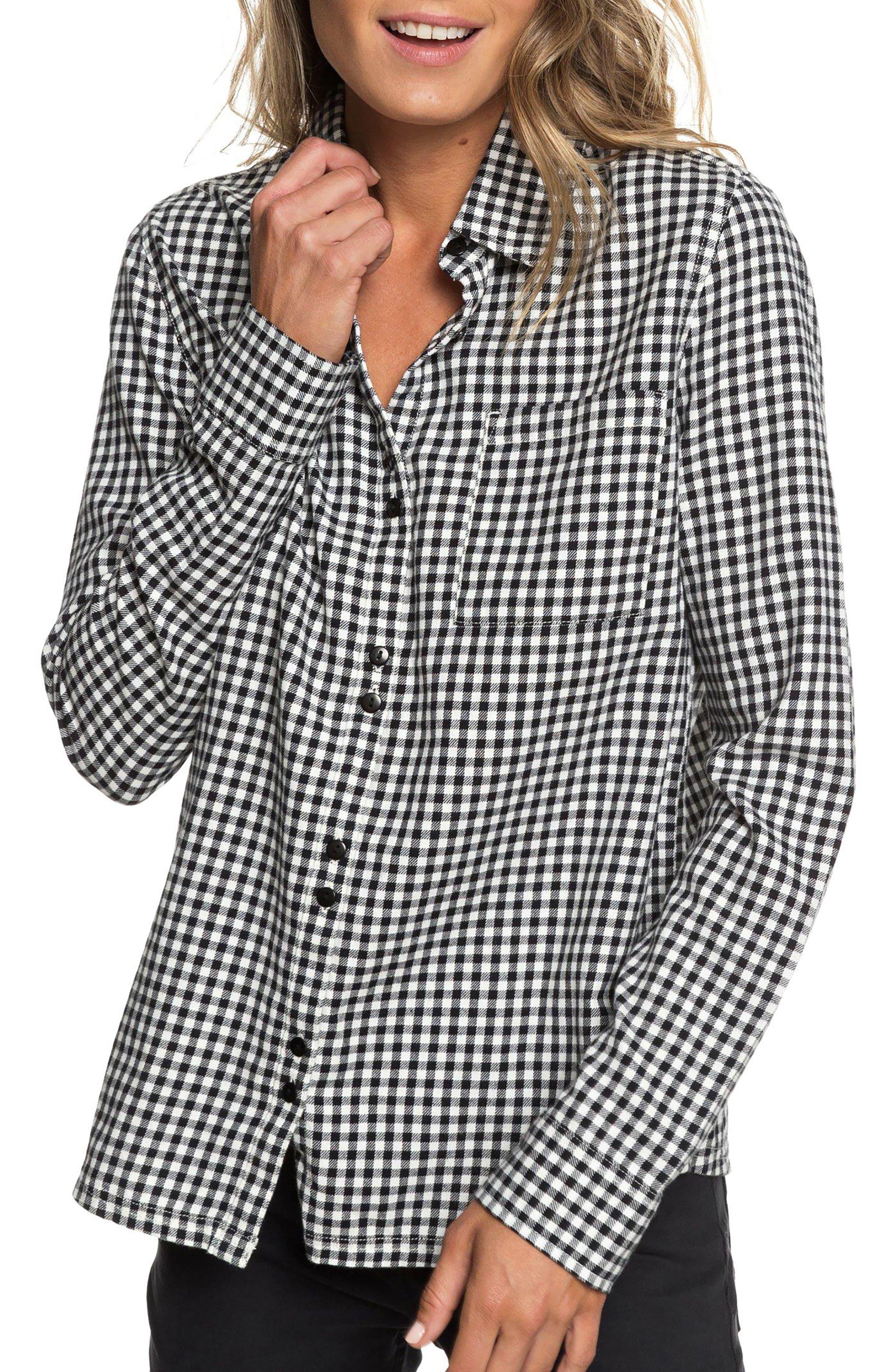 Concrete Streets Gingham Flannel Shirt,                         Main,                         color, 001